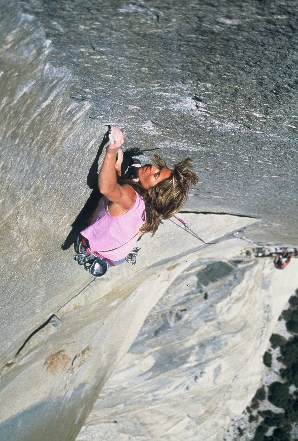 "1988-1993: ""Freeing"" El Cap                                                              Free climbing is a technique in which ropes and climbing gear is used in case of a fall, but not to assist in the climber's ascent. The climbing community hadn't considered the technique to be possible on an entire ""big wall"" route – until Todd Skinner and Paul Piana did it in 1988 on the Salathé Wall. Five years later, Lynn Hill (pictured above), a renowned female climber, ""freed"" the Nose with climbing partner Brooke Sandahl."