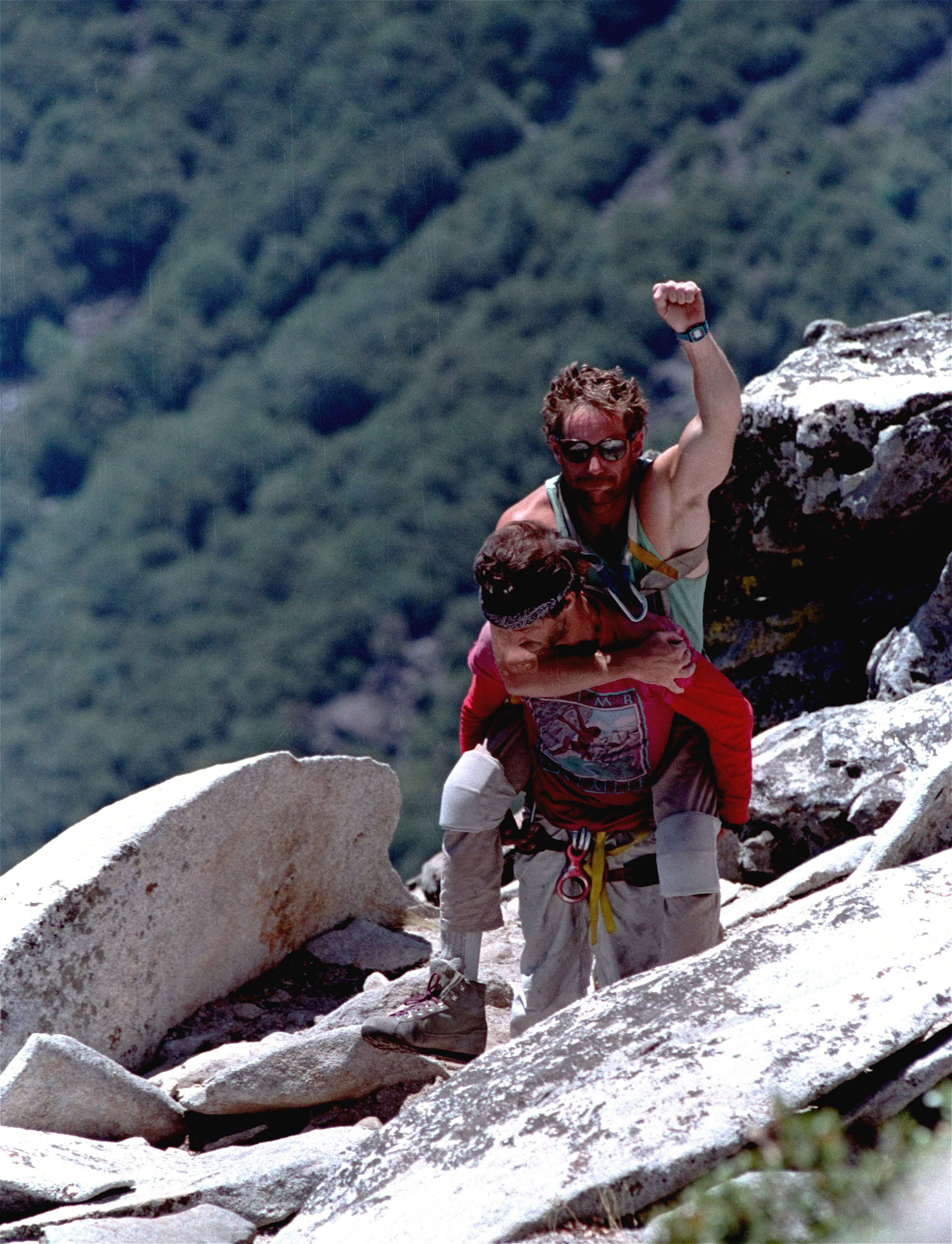 1989: First paraplegic ascent                                                              Mark Wellman, a climber who had minimal use of his legs, ascended El Capitan in July 1989. Wellman's climbing partner, Mike Corbett, scaled ahead to set the climbing ropes in rock and Wellman followed, pulling himself up the ropes with a T-bar lift device.