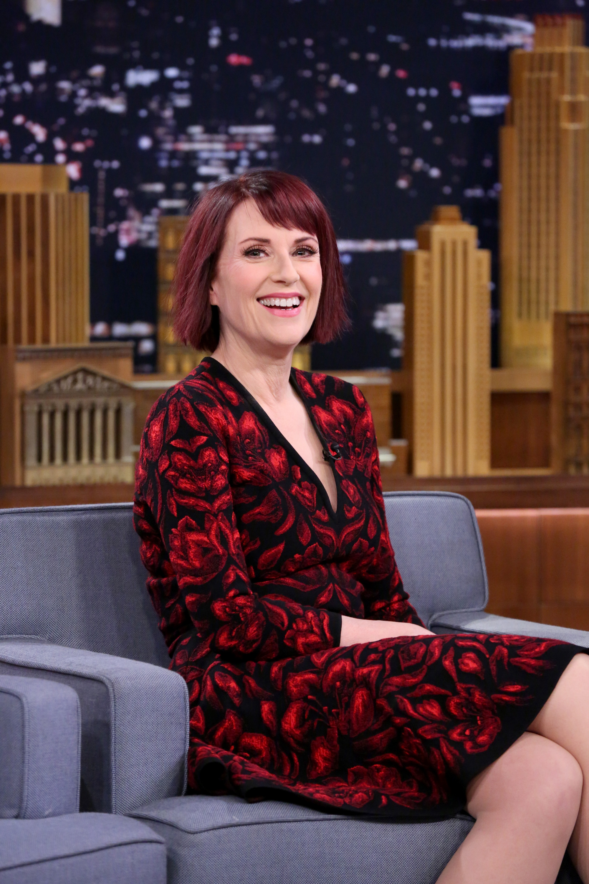 Actress Megan Mullally on the Tonight Show on Dec. 12, 2014.
