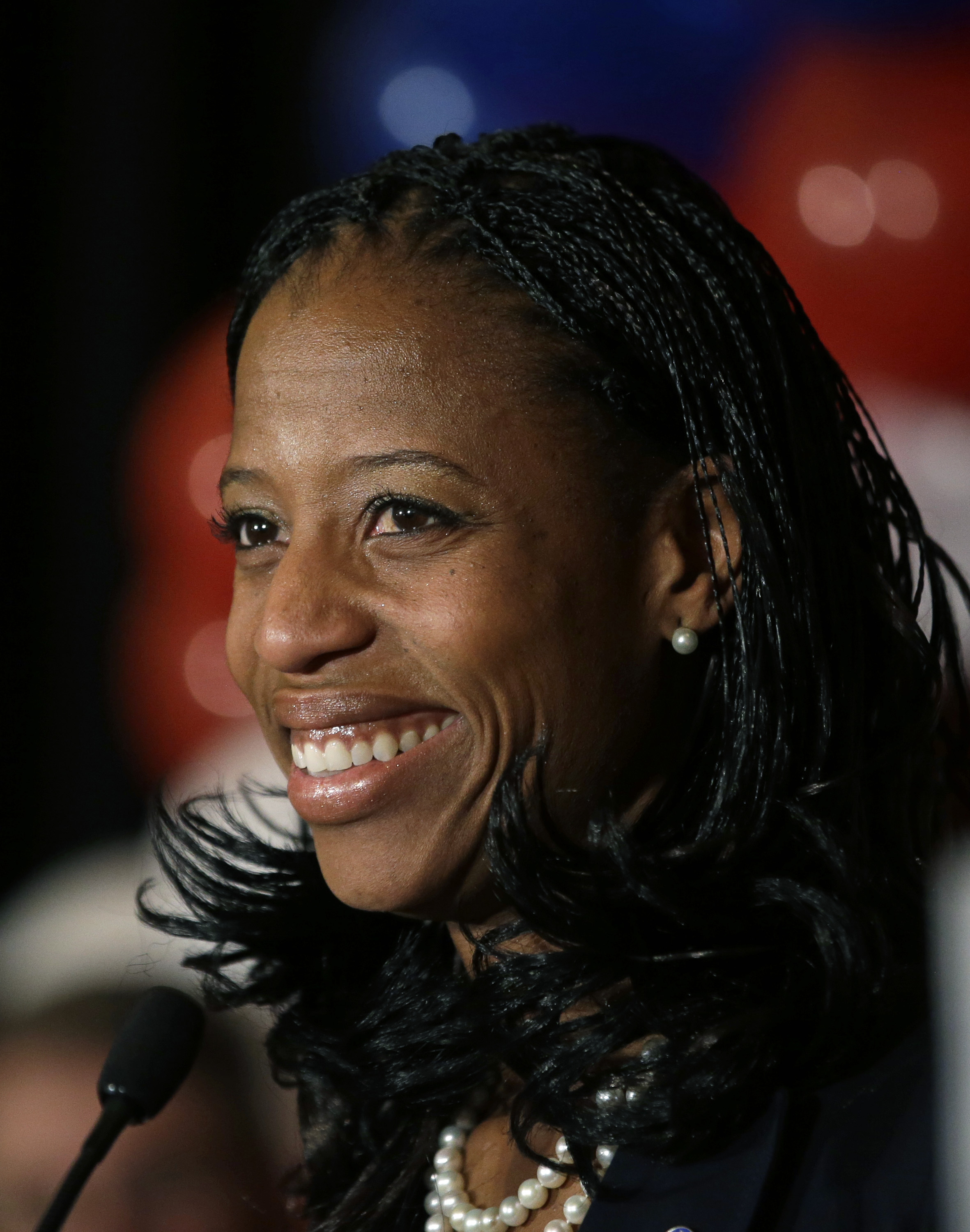 Republican Mia Love celebrates with her supporters after winning the race for Utah's 4th Congressional District during the Utah State GOP election night watch party on Nov. 4, 2014, in Salt Lake City.