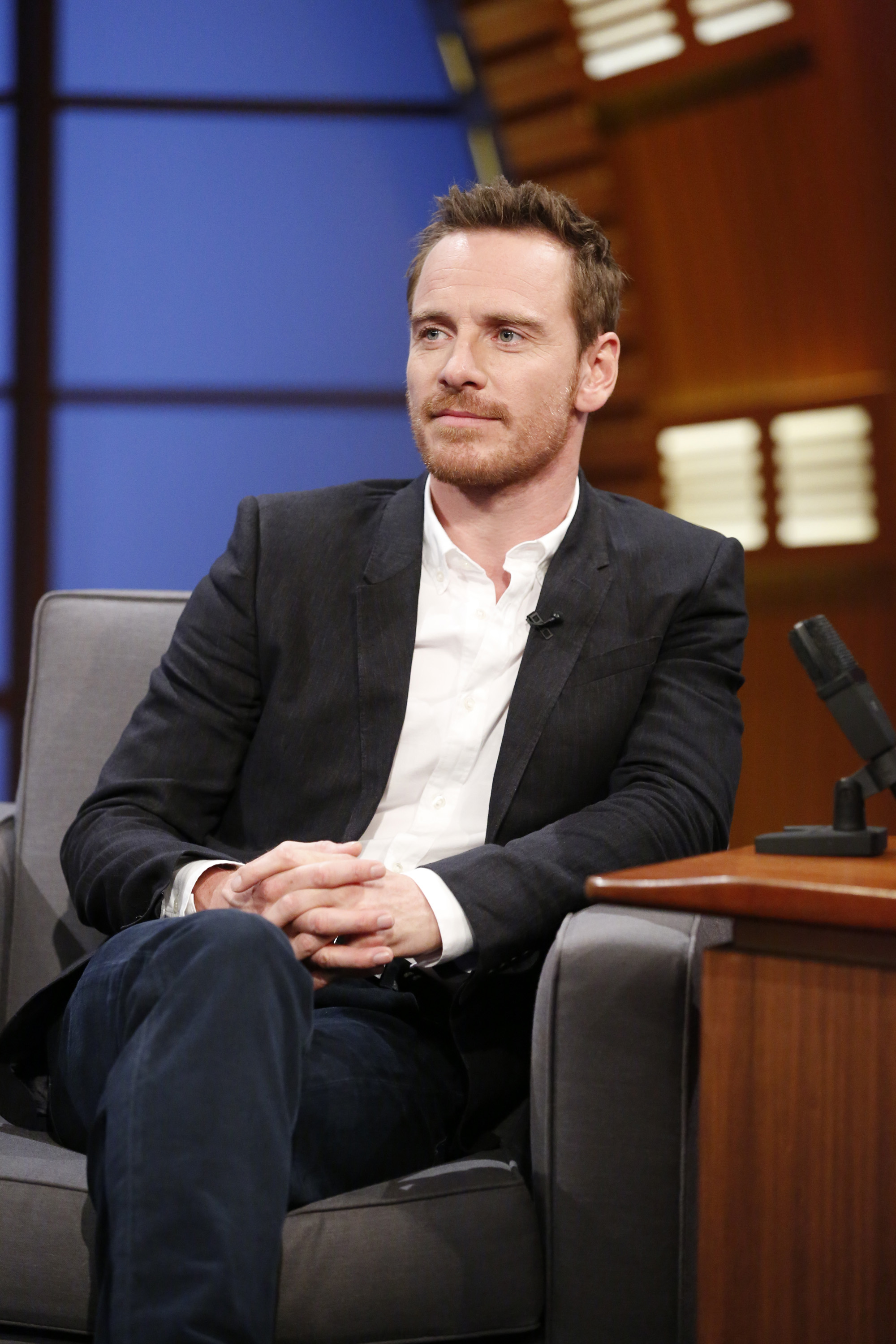 Actor Michael Fassbender during an interview on August 7, 2014