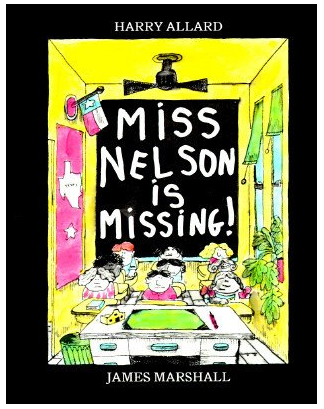 Miss Nelson is Missing, by Harry Allard, illustrations by James Marshall.                                                                                                                            Miss Nelson goes missing, and because her wildly misbehaved class can't handle the cruel substitute teacher, they seek her whereabouts.                                                                                                                            Buy now: Miss Nelson is Missing