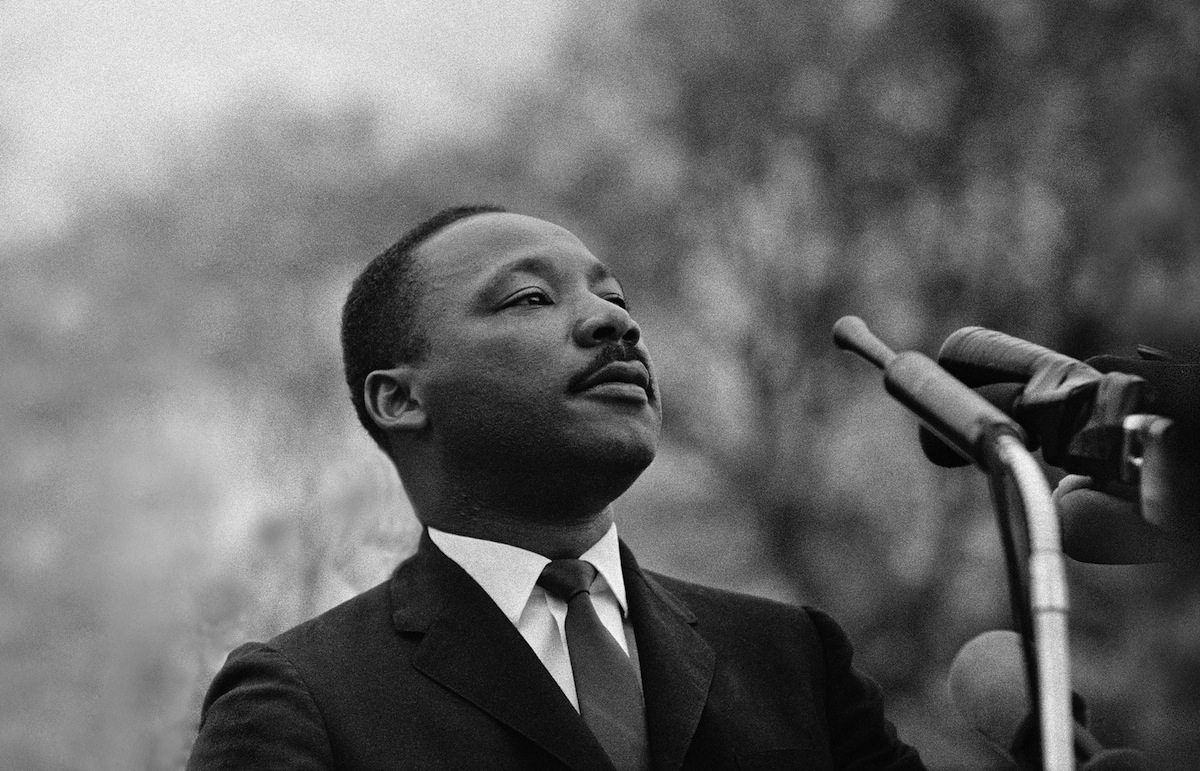 Dr. Martin Luther King, Jr. speaking before crowd of 25,000 on March 25, 1965 in Montgomery, Ala.