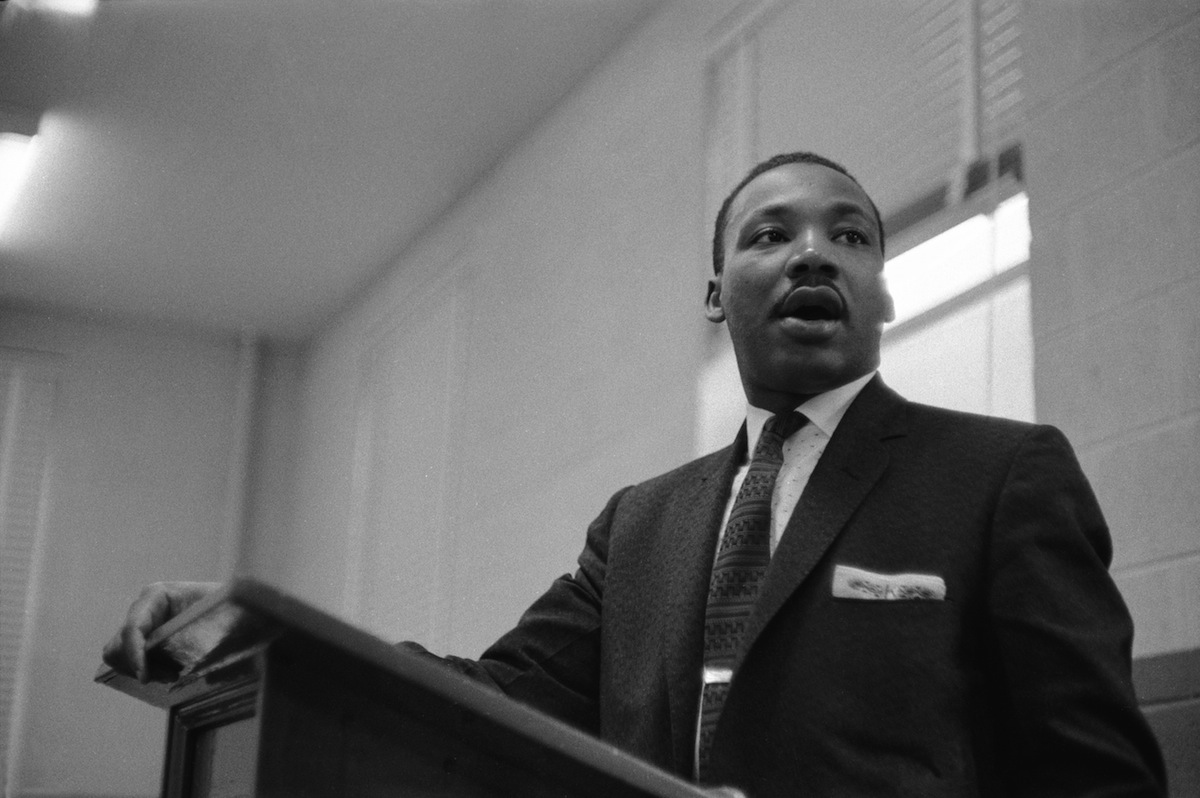 Martin Luther King Jr. addresses a protest meeting in Atlanta in 1957