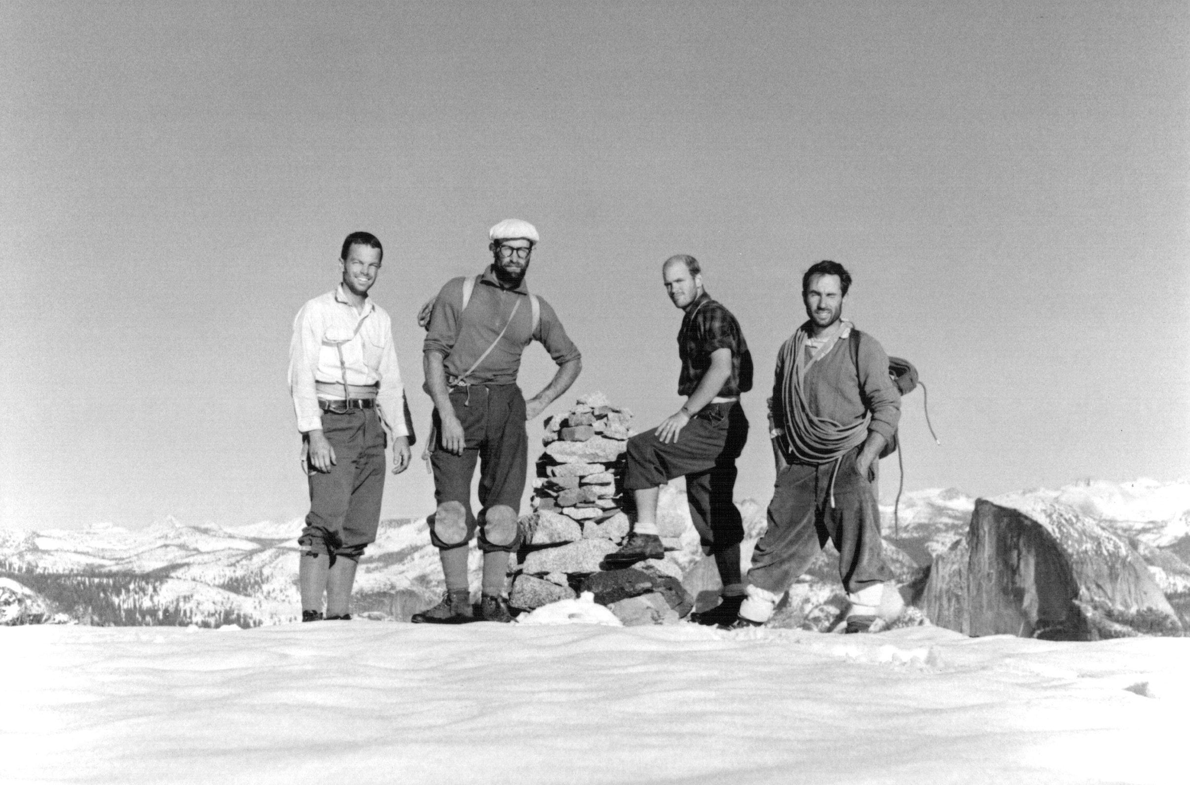 "1964: Conquering the other side of El Cap                                                              Not long after summiting Salathé, Royal Robbins was making history again. With Yvon Chouinard, Tom Frost and Chuck Pratt, he made the first ascent of the southeast face of El Capitan, in the area called the North America Wall. Unlike the southwest face, the southeast façade didn't have ""trails"" of cracks that climbers could follow up. The rock was steeper, with overhanging ledges, and more difficult than what had been previously attempted. But as an added challenge, Robbins decided against using ""fixed"" ropes, which are used to ferry supplies to the climbers and quickly ascend or descend in an emergency. This meant the team had to reach the top in one push."
