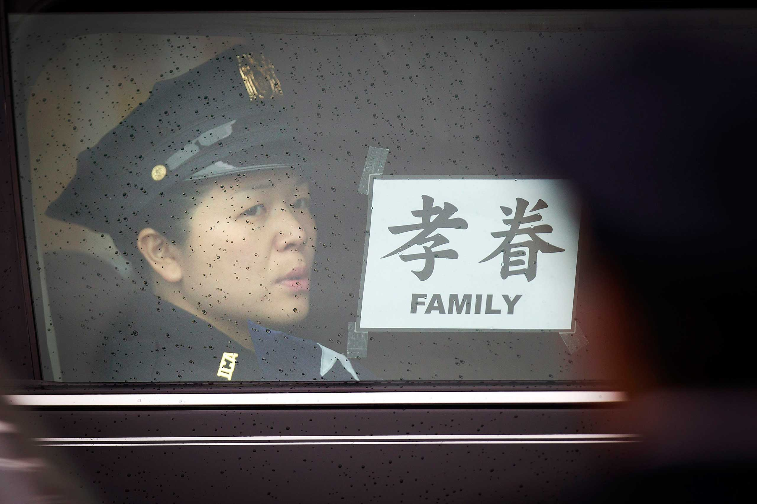 A limo for family members is seen following the funeral of slain New York Police Department officer Wenjian Liu's in the Brooklyn borough of New York on Jan. 4, 2015.