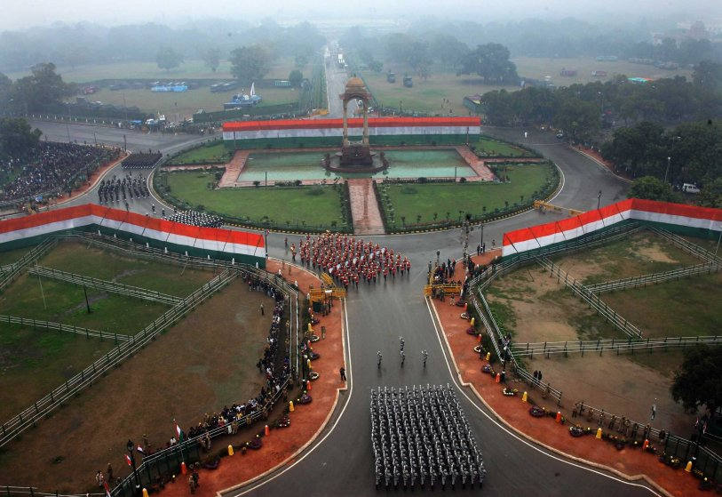 Aaerial view of the Indian paramilitary contingents taking part in India's Republic Day parade in New Delhi, Jan. 26, 2015.