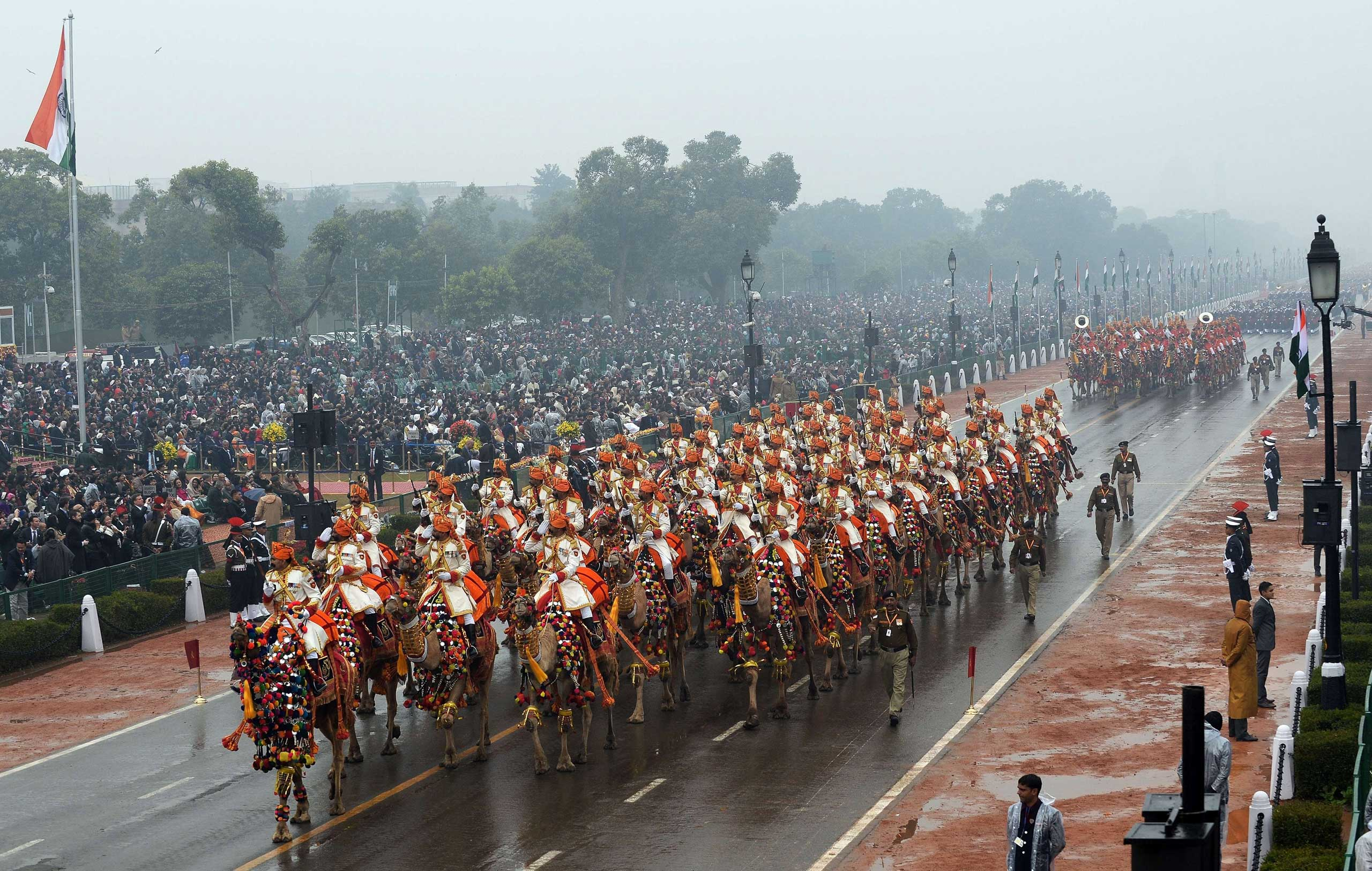 Soldiers march in formation down the ceremonial boulevard Rajpath during the Republic Day parade in New Delhi on Jan. 26, 2015.
