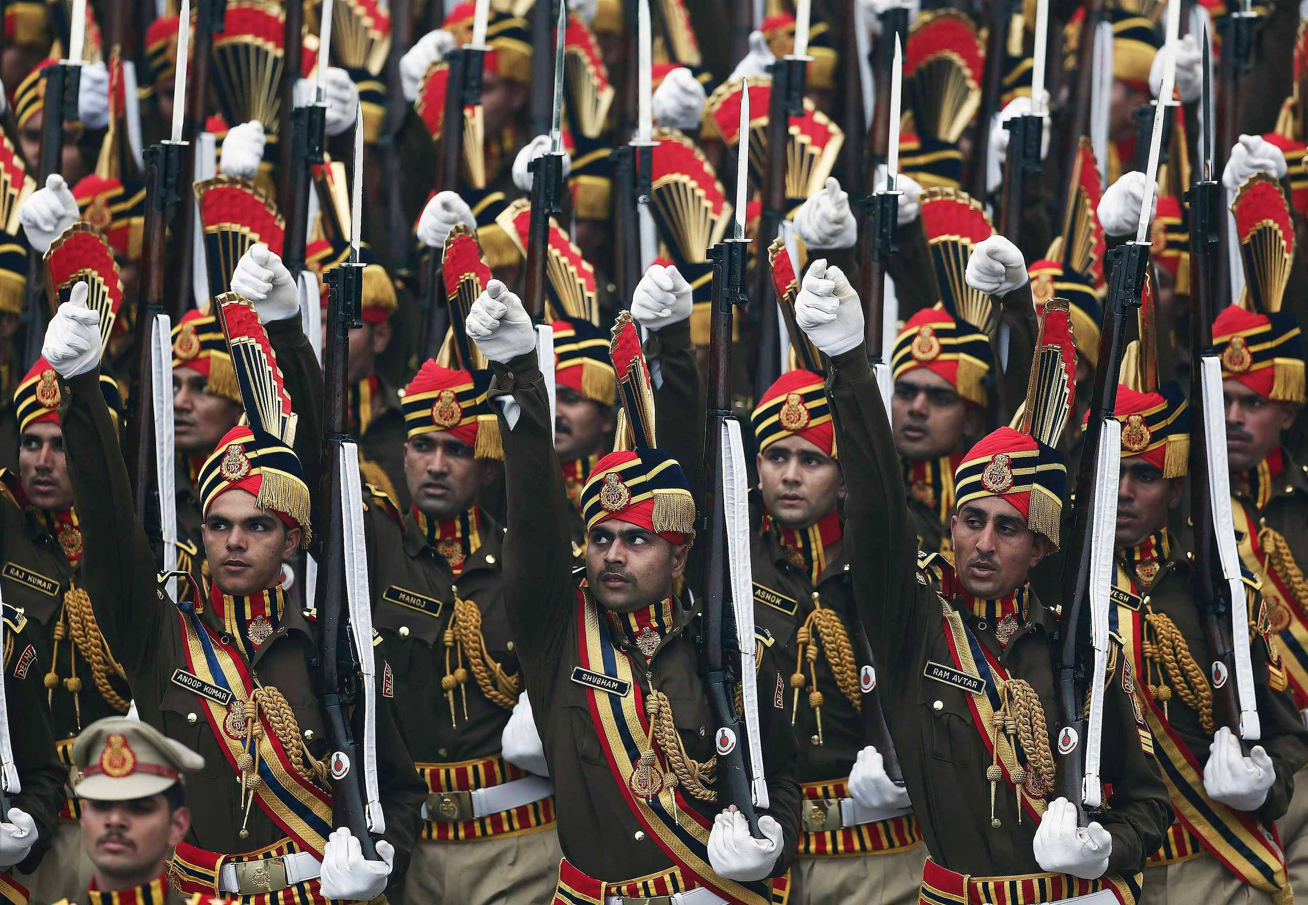 Policemen march during the Republic Day parade in New Delhi, Jan. 26, 2015.