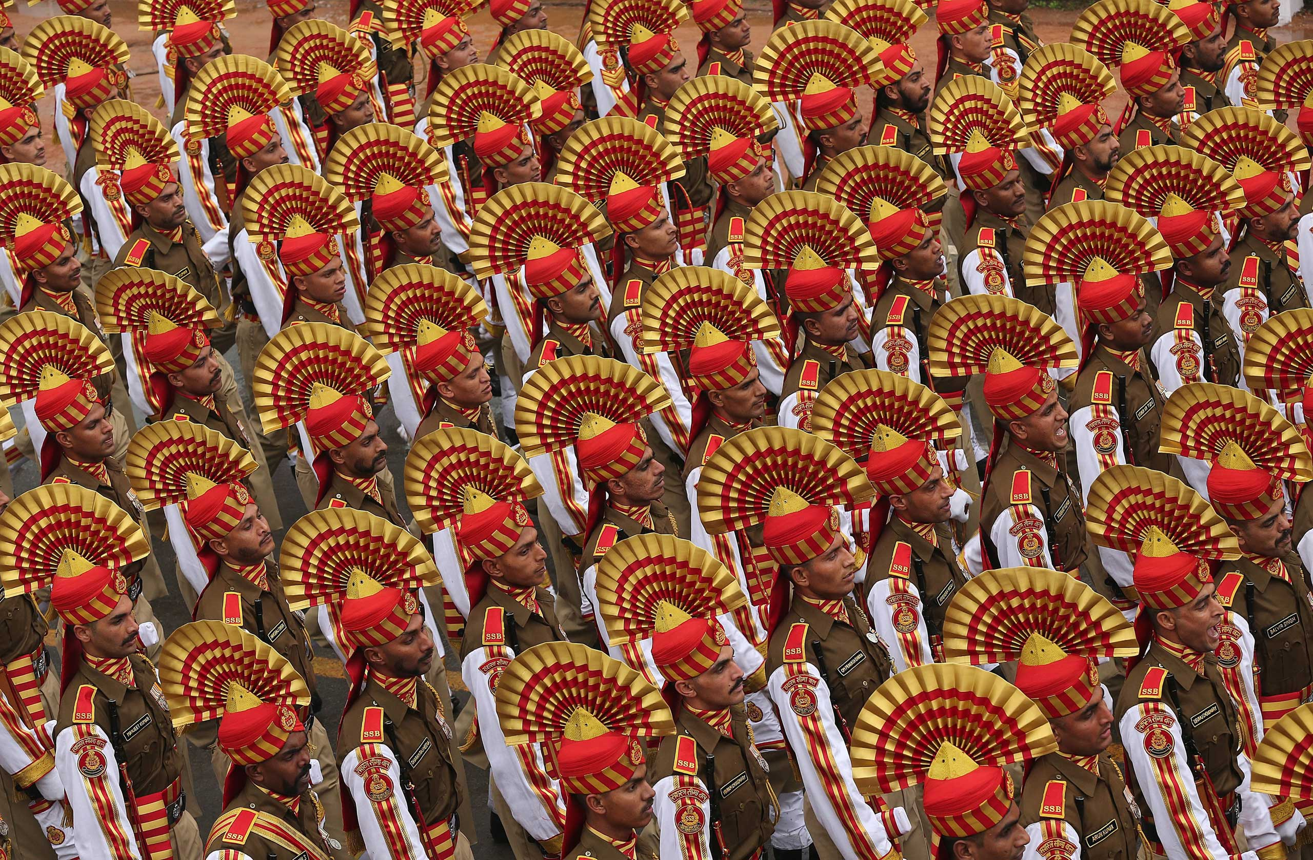 A paramilitary unit participates in the 66th Republic day function in New Delhi, Jan. 25, 2015.