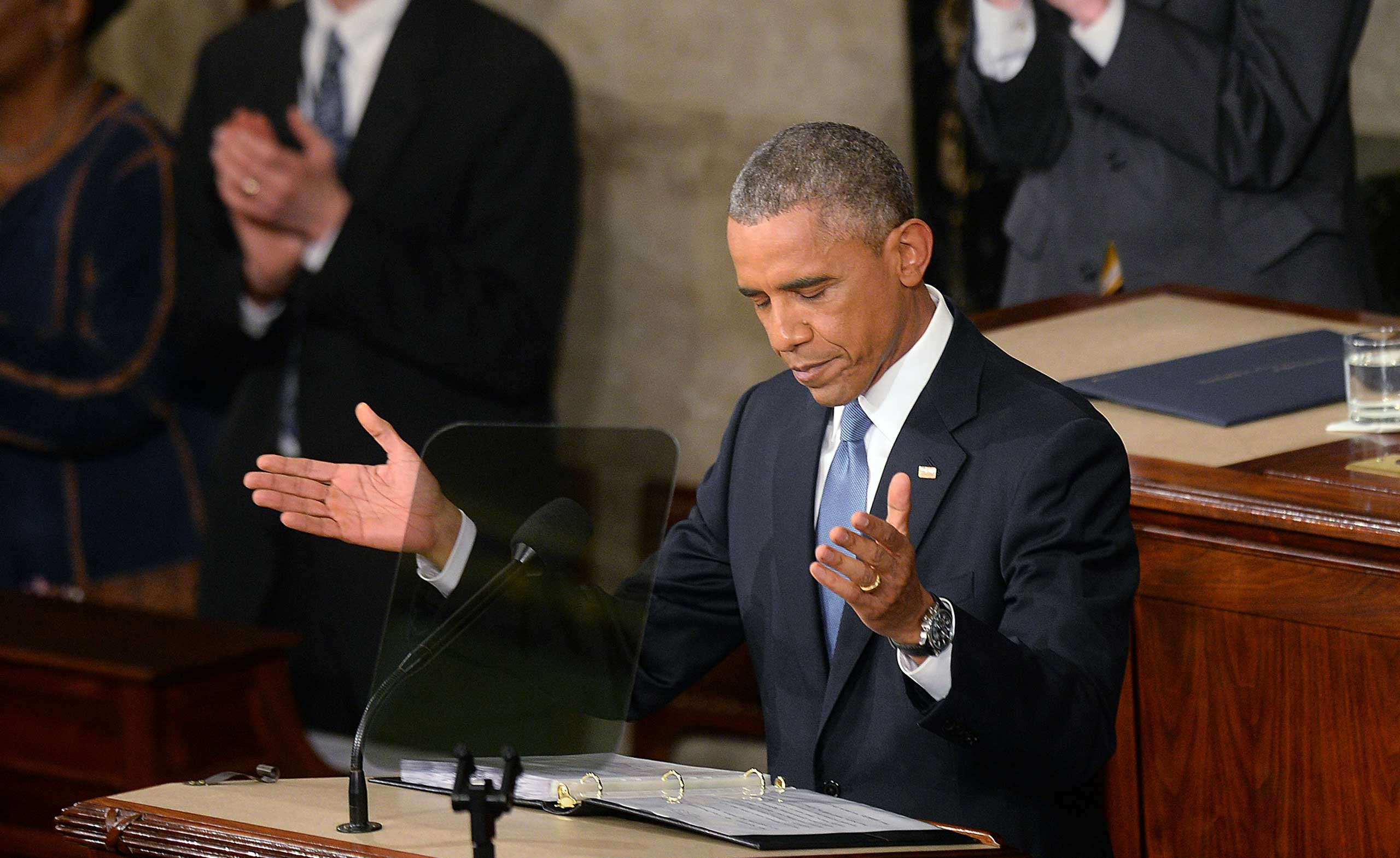 US President Barack Obama delivers his sixth State Of The Union address to the nation at the US Capitol in Washington, Jan. 20, 2015.