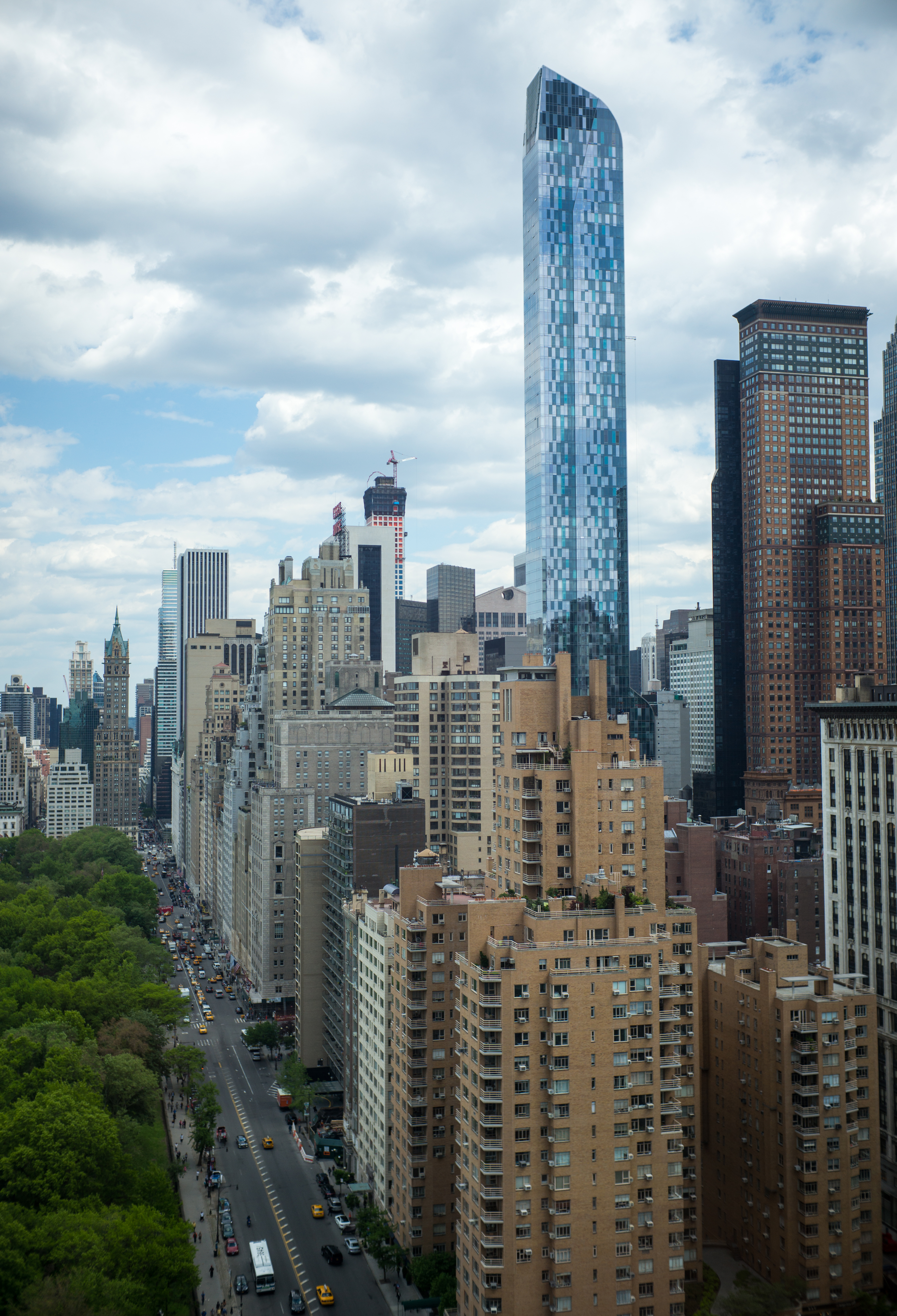 A view of the southern skyline of Central Park is seen on May 19, 2014 including the 90-story One57 luxury condominium building under construction in New York City.
