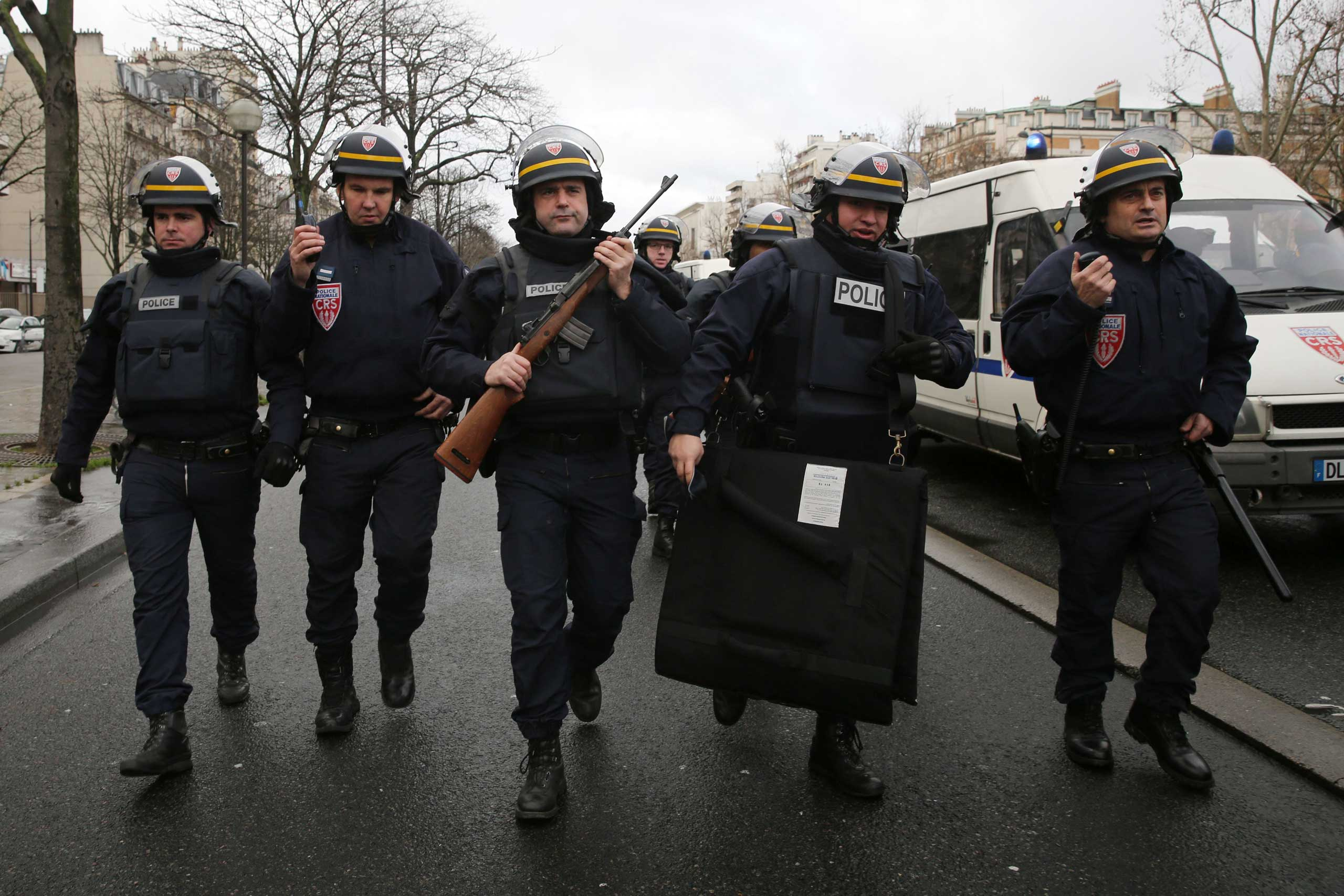 Police arrive with guns at Port de Vincennes on Jan. 9, 2015 in Paris.