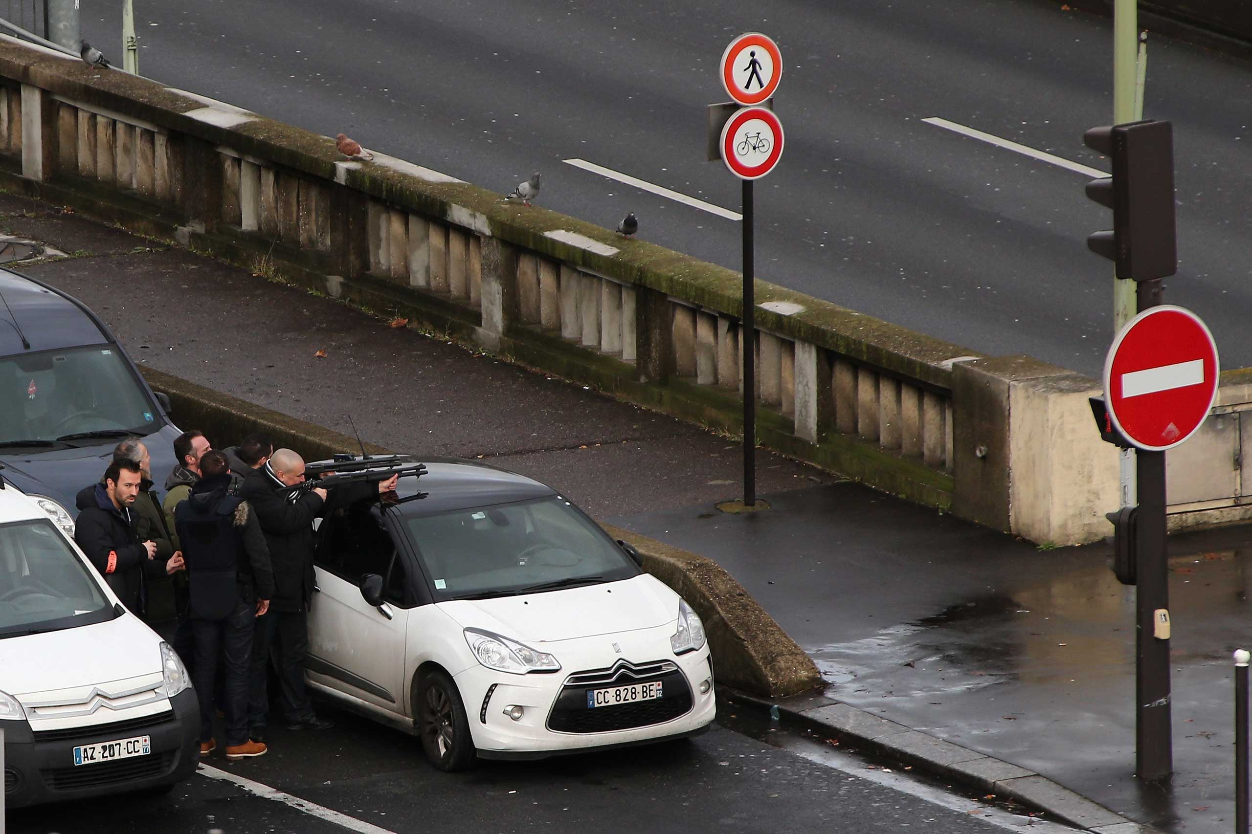 Police are mobilized with reports of a hostage situation at Port de Vincennes on Jan.  9, 2015 in Paris.