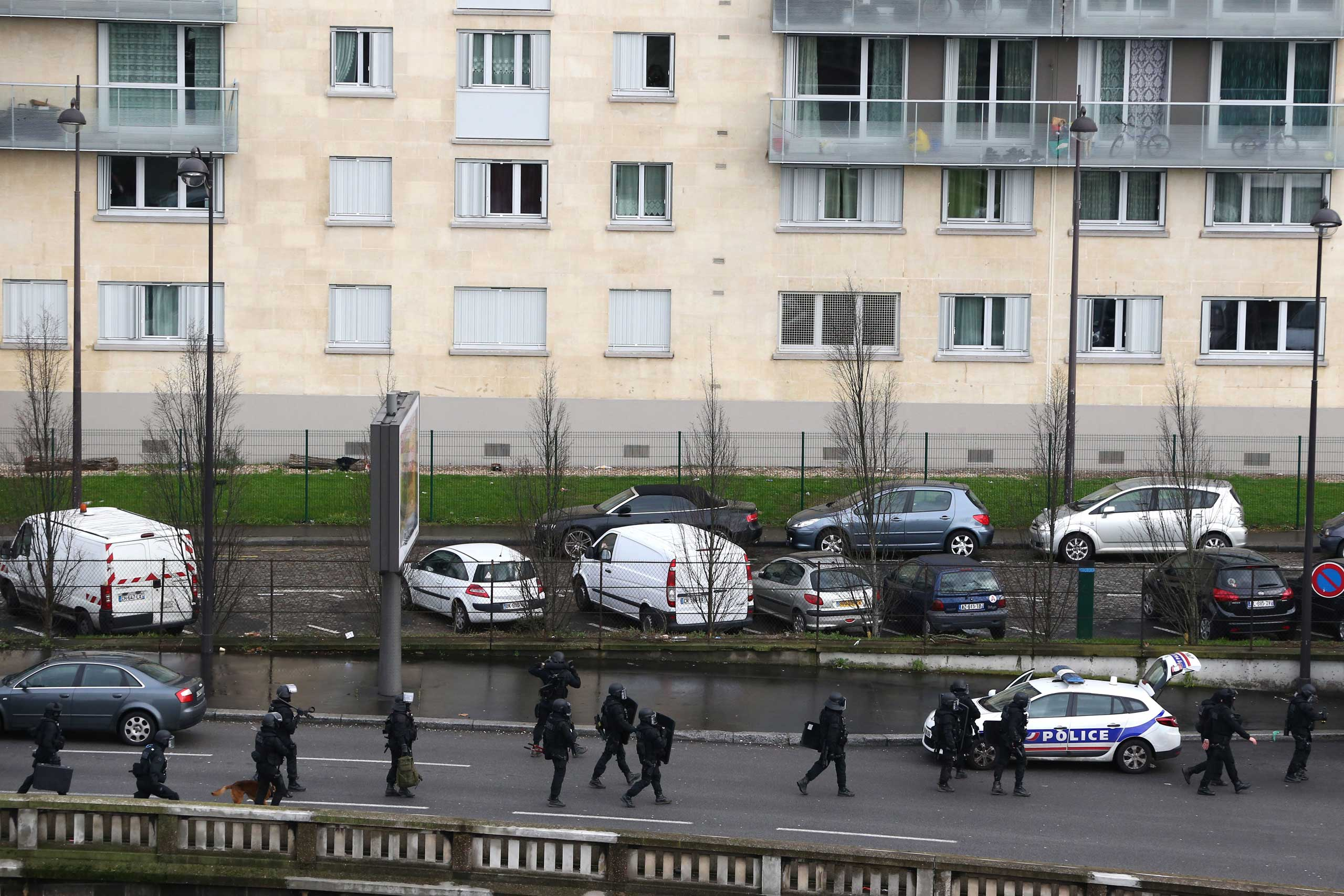 Police mobilize with reports of a hostage situation at Port de Vincennes on Jan. 9, 2015 in Paris.