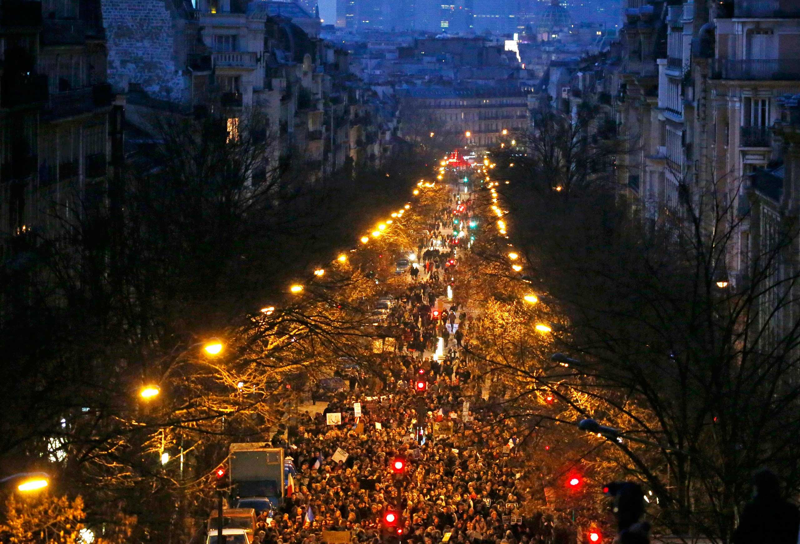 A general view shows hundreds of thousands of French citizens taking part in a solidarity march  in the streets of Paris, Jan. 11, 2015.