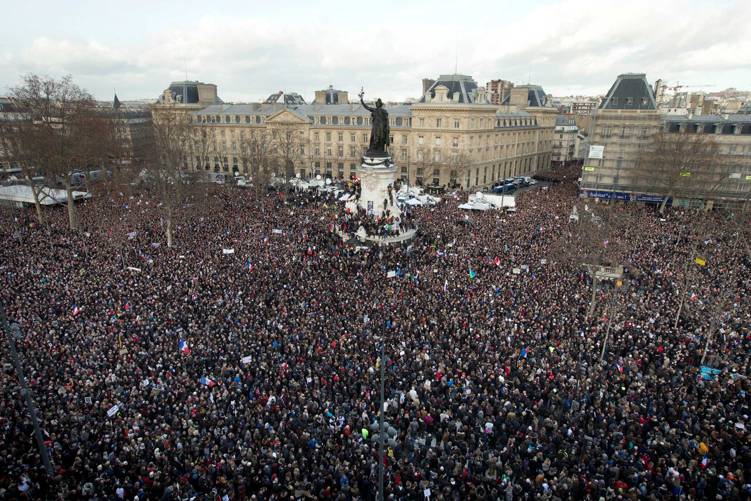 Thousands of people gather at Place de la République in Paris, Jan. 11, 2015.