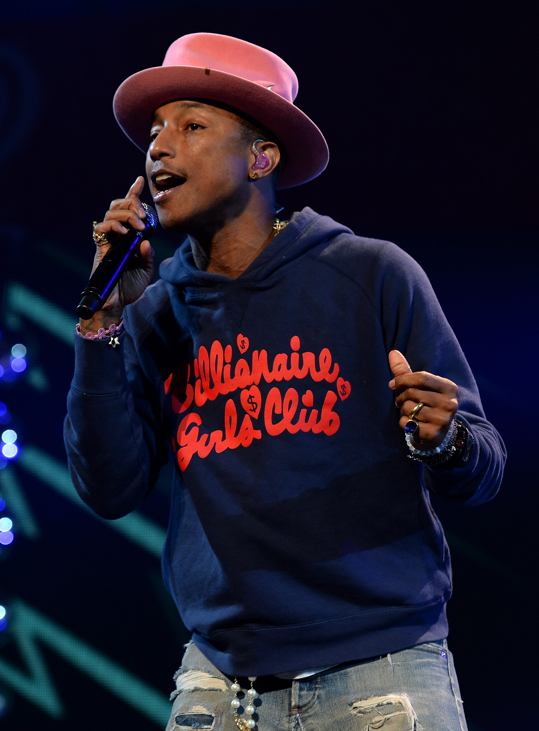 Pharrell Williams performs onstage during Y100's Jingle Ball 2014  on December 21, 2014 in Miami, FL.
