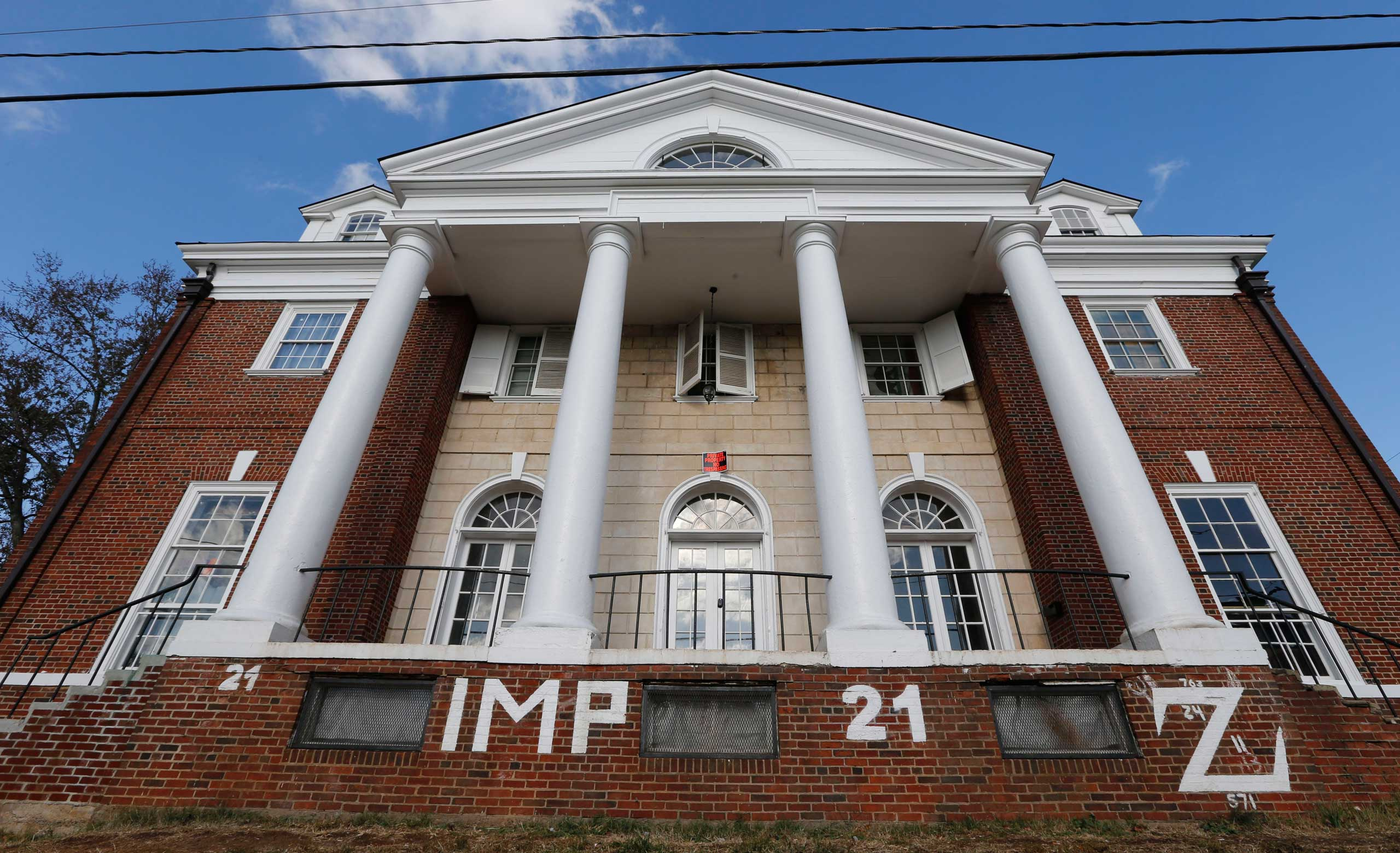 The Phi Kappa Psi house at the University of Virginia in Charlottesville, Va., Nov. 24, 2014.