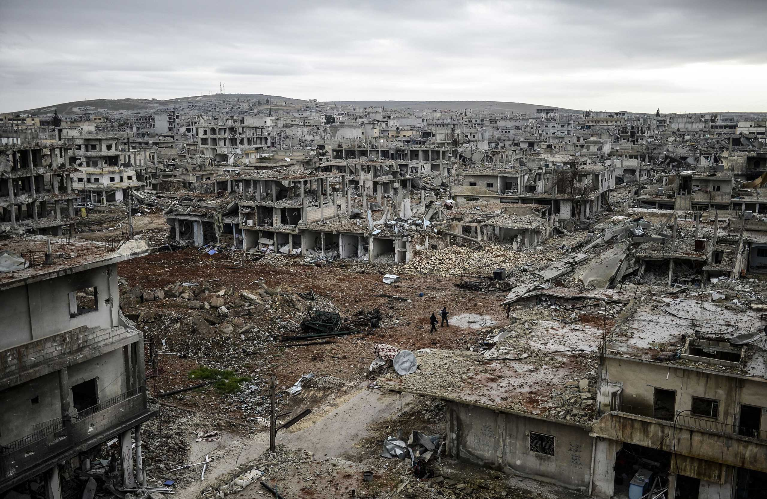 Jan. 30, 2015. The Eastern part of the destroyed city of Halimce, East of the Syrian town of Kobane. Kurdish forces recaptured the town on the Turkish frontier on January 26, in a symbolic blow to the jihadists who have seized large swathes of territory in their onslaught across Syria and Iraq.