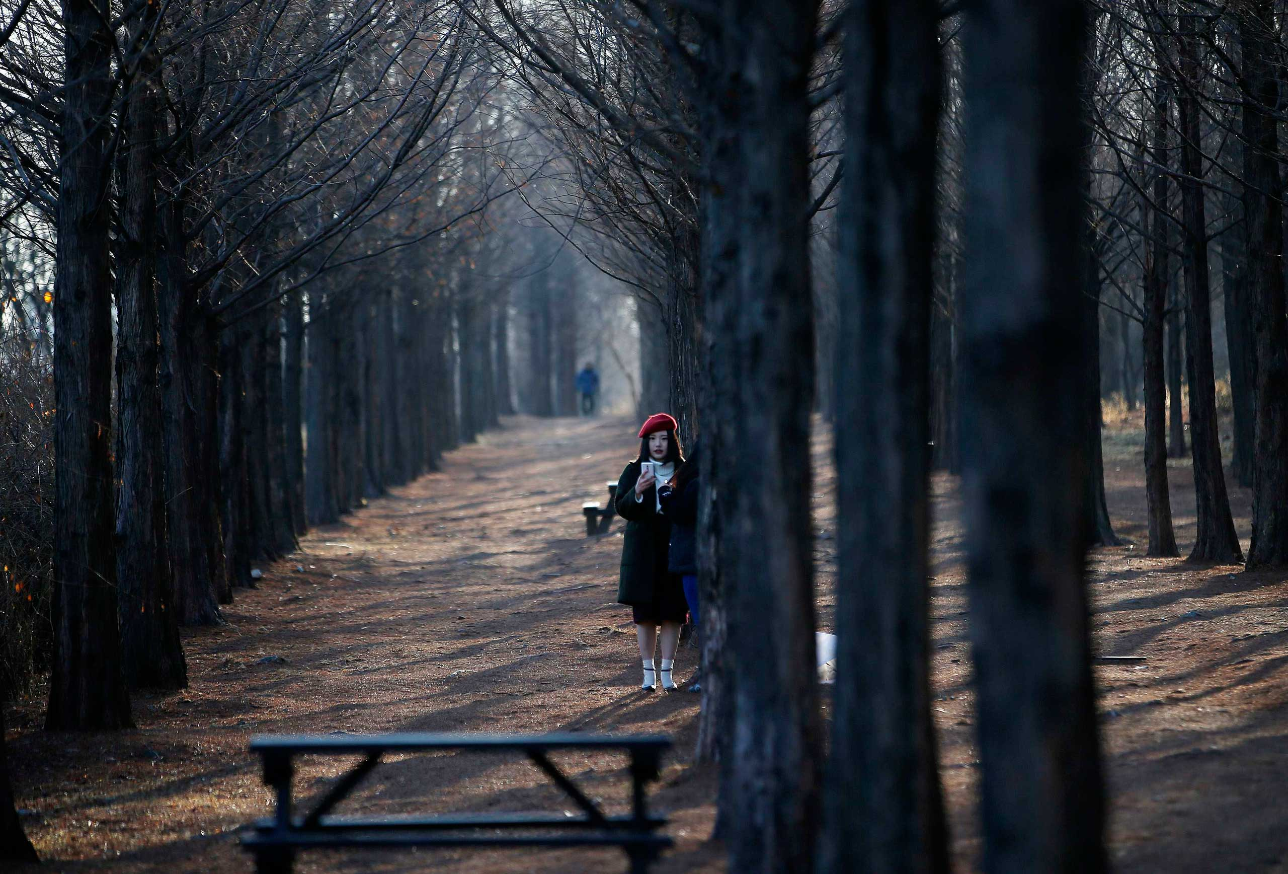 Jan. 27, 2015. A woman takes a selfie on a cold winter day in a park in Seoul.