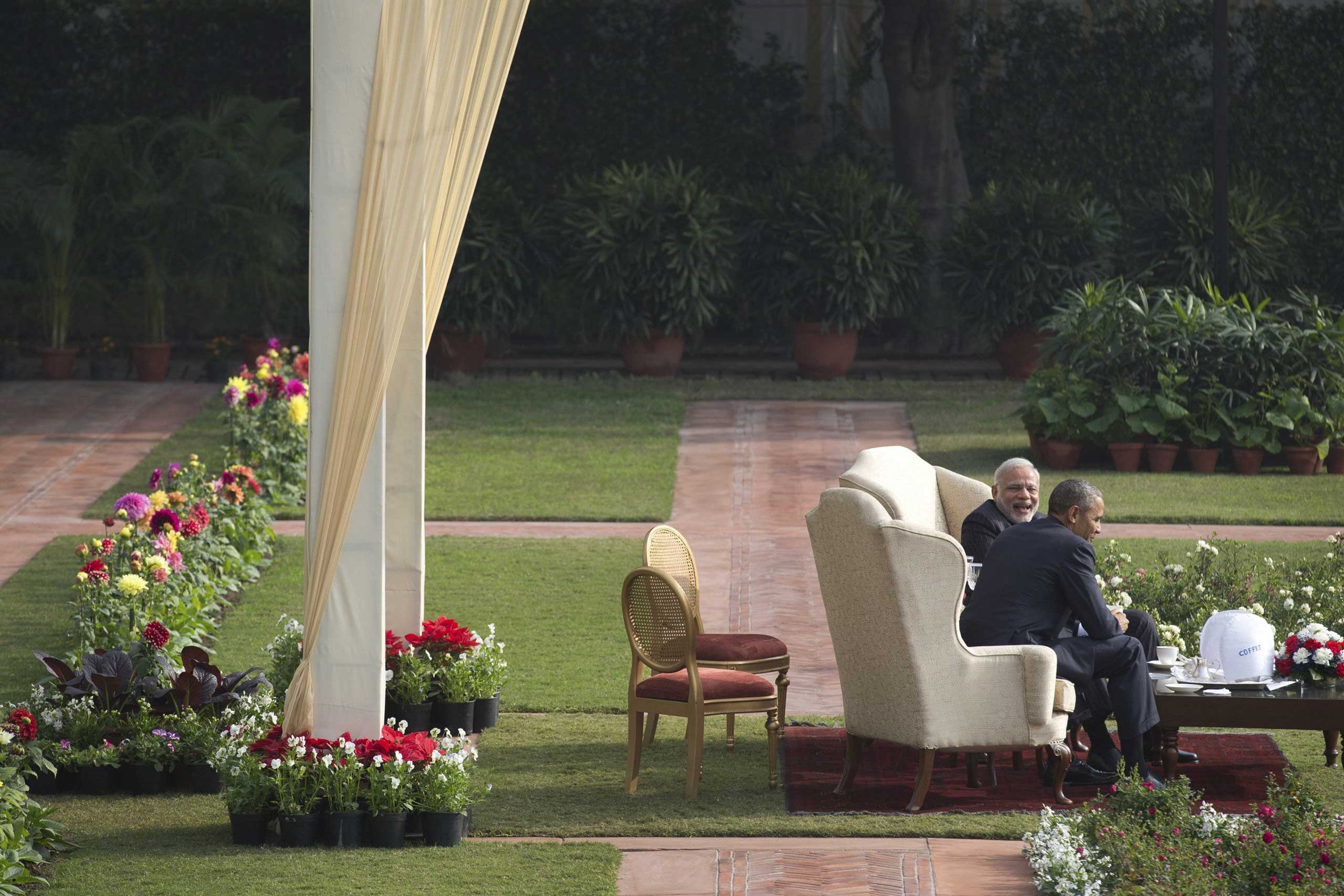 Jan. 25, 2015. President Barack Obama and Prime Minister Narendra Modi have tea at Hyderabad House in New Delhi. Obama swept aside past friction with India to report progress on climate change and civilian nuclear power cooperation as he sought to transform a fraught relationship marked by suspicion into an enduring partnership linking the world's oldest and largest democracies.