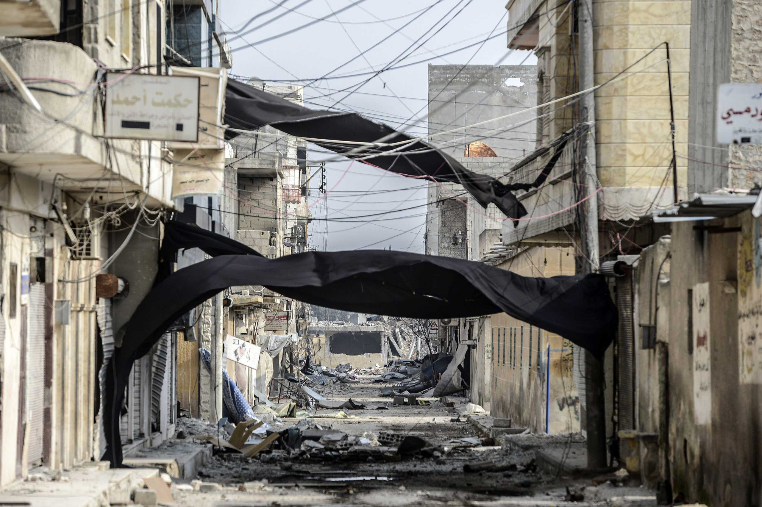 Jan. 28, 2015. The wreckage left by fighting in the center of the Syrian town of Kobani. Kurdish forces recaptured the strategic town on the Turkish frontier in a symbolic blow for the jihadists who have seized swathes of territory in a brutal onslaught across Syria and Iraq.