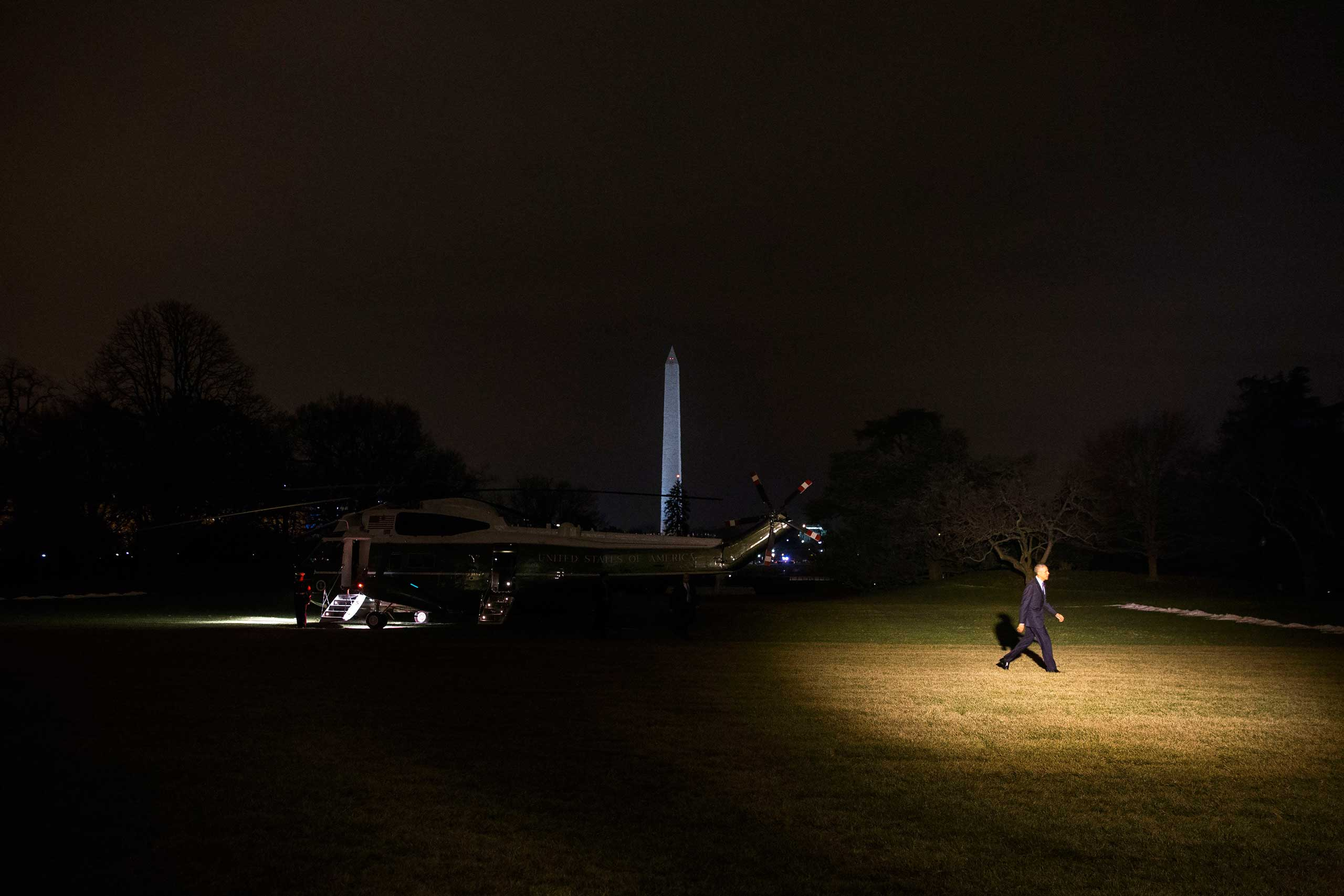 Jan. 14, 2015. President Barack Obama arrives on the South Lawn of the White House in Washington, D.C. after a day trip to Cedar Falls, Iowa to deliver a speech on increasing access to affordable high-speed broadband.