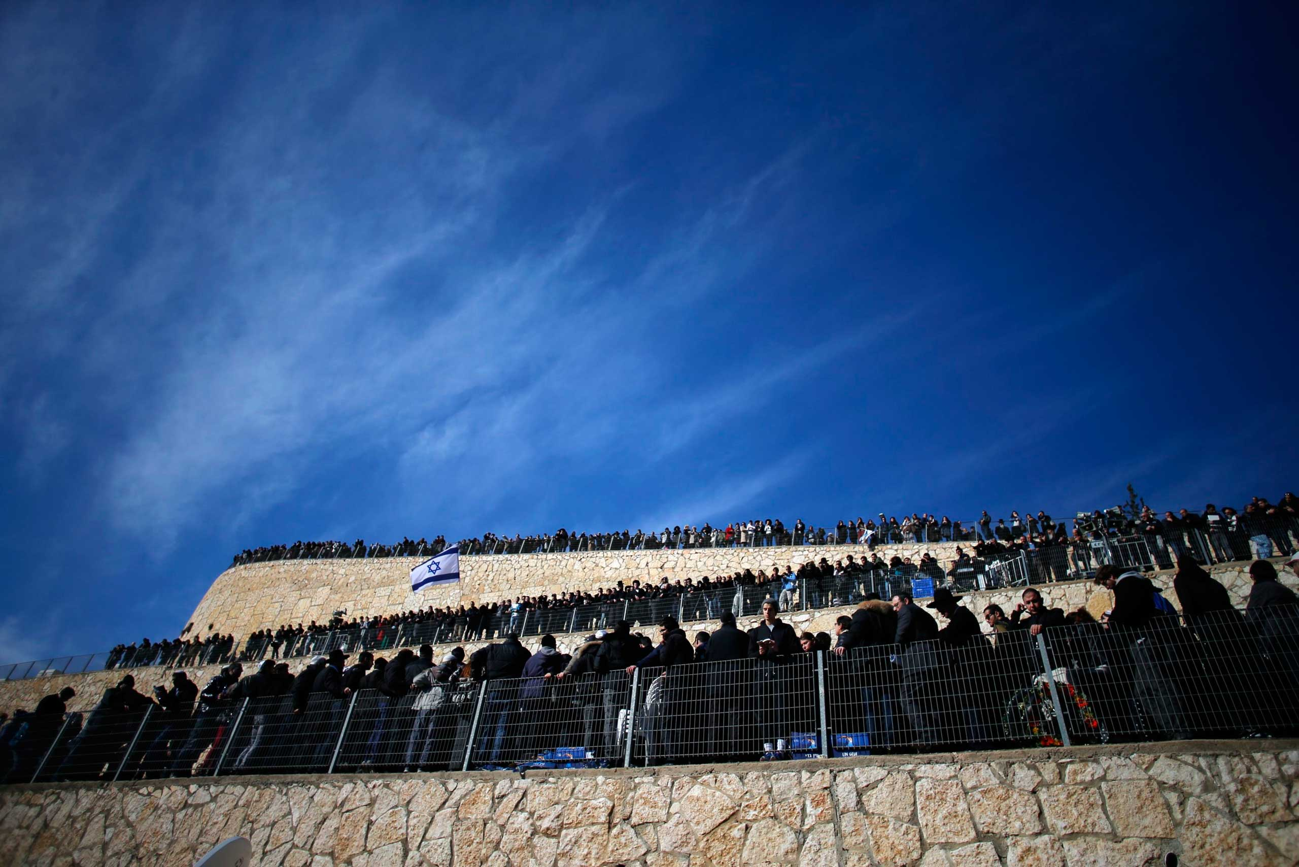 Jan. 13, 2015. Mourners gather for the burial ceremony in Jerusalem for the four victims who were killed  by terrorists in a Paris kosher grocery store siege.