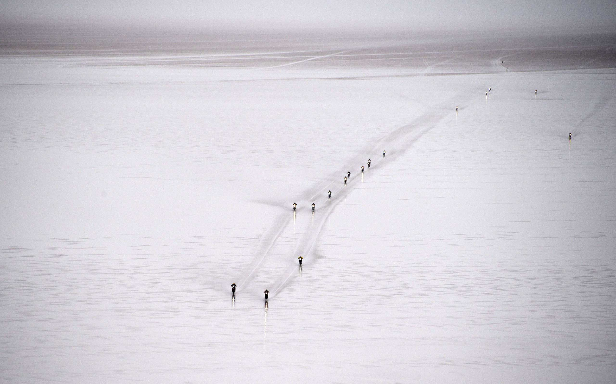 Jan. 12, 2015. Riders compete during 2015 Dakar Rally stage 8 between Uyuni, Bolivia and Iquique, Chile. The Uyuni salt flat is the largest in the world, located in Bolivia near the crest of the Andes, 12,000 ft. above sea level.