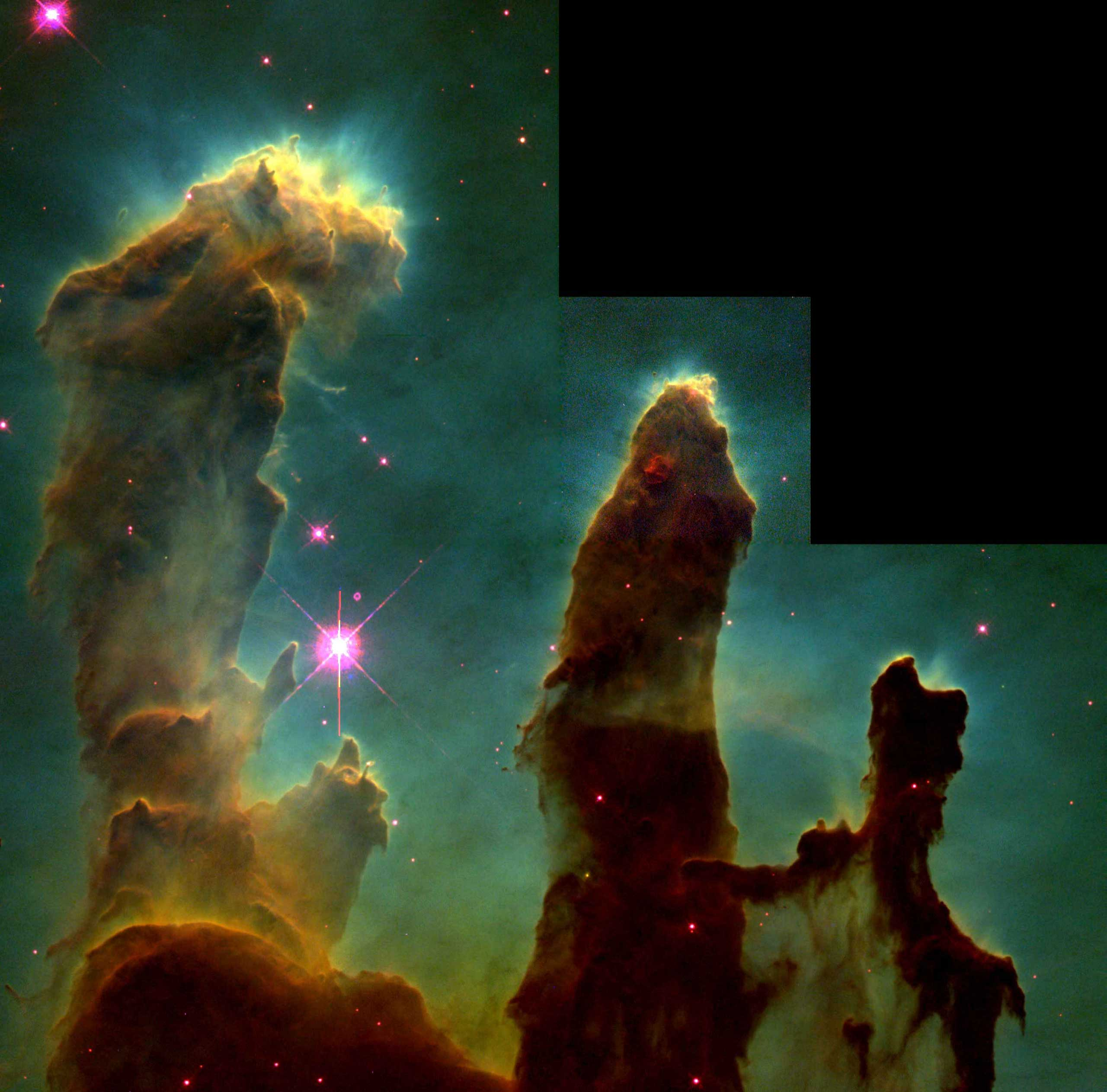 The original image of the  Pillars of Creation  taken by the Hubble Telescope in 1995.