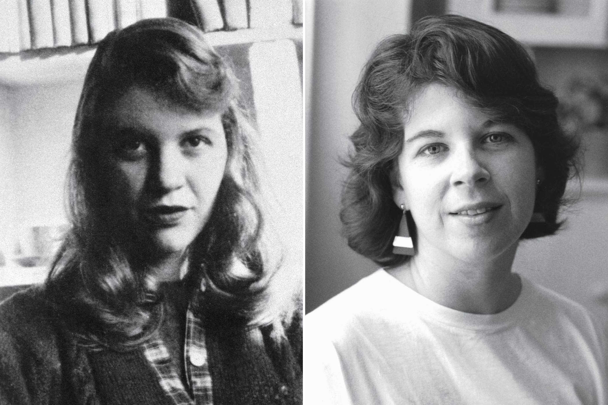 Plath (left, circa 1957) and Wolitzer (pictured during her college years) both studied at Smith College. Both have written about women's struggles to define themselves.
