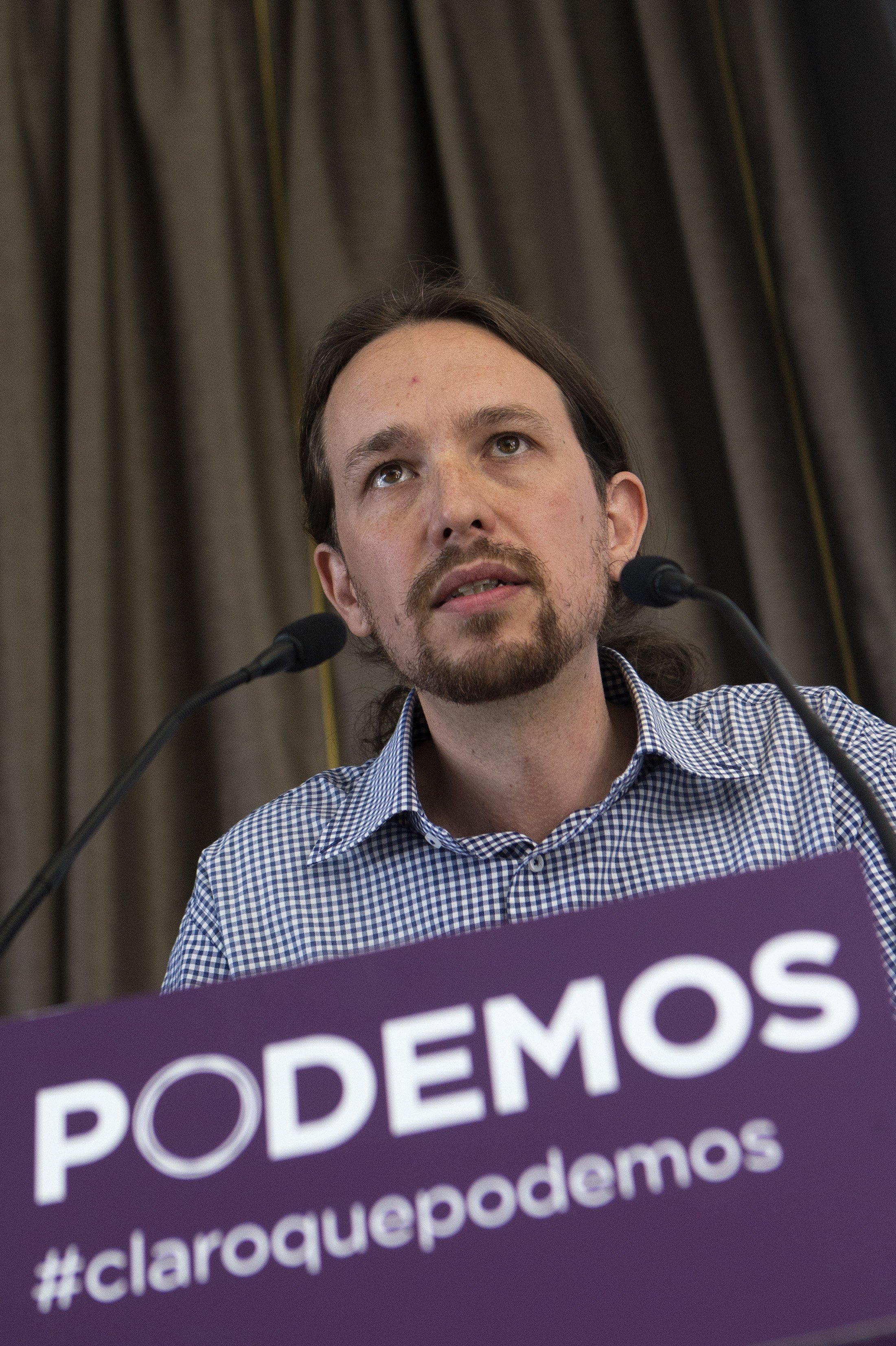 Pablo Iglesias, the leader of the leftist Podemos (We Can) party, speaks during a news conference in Madrid on May 30, 2014.
