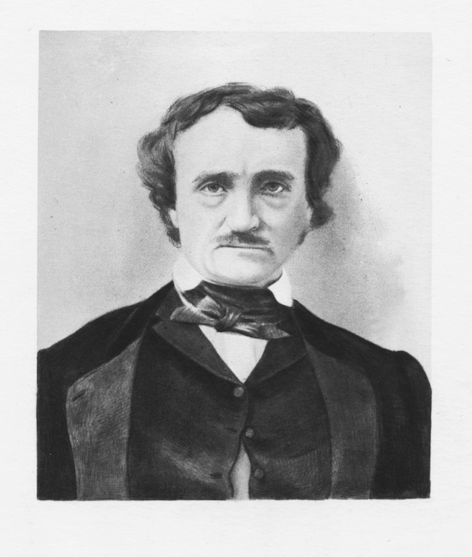 Engraved portrait of author Edgar Allan Poe, circa 1830