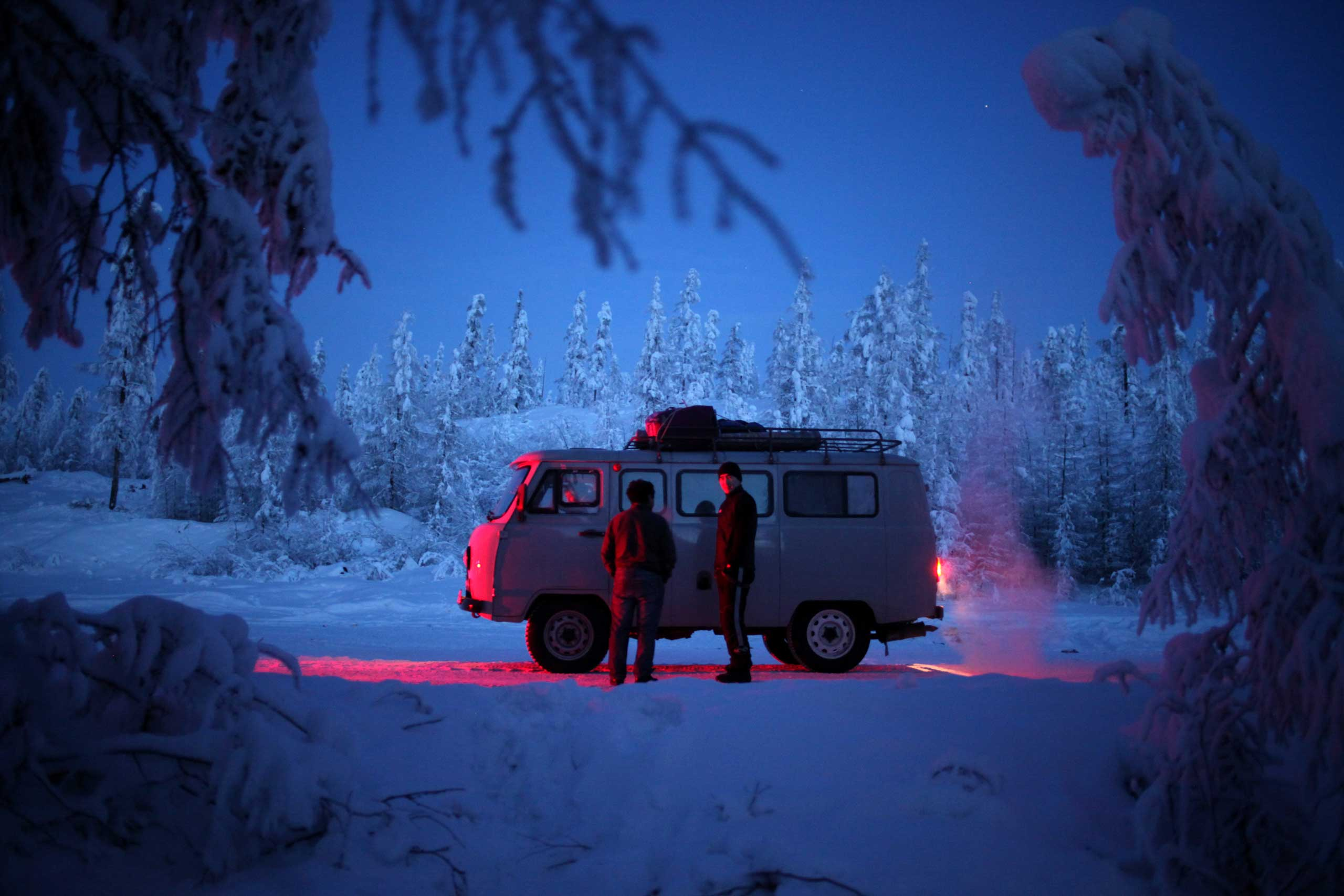 Wired Raw File: The Coldest Towns on EarthAn Uazik van in the tundra outside of Oymyakon. The Soviet-era vans are widely favored in Siberia for their ability to stand up to the cold. They are often equipped with industrial-sized heating fans in the passenger compartment. They are known as  loaves  for their distinctive shape.