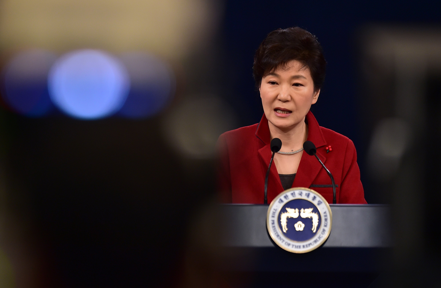 South Korean President Park Geun-Hye speaks during her New Year press conference at the presidential Blue House in Seoul on Jan. 12, 2015.