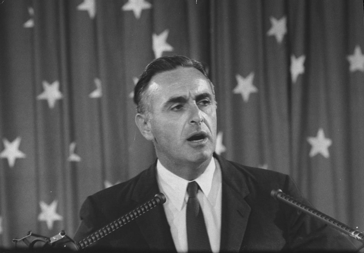Then Governor of Connecticut Abraham A. Ribicoff speaking at the Democratic Convention in 1960