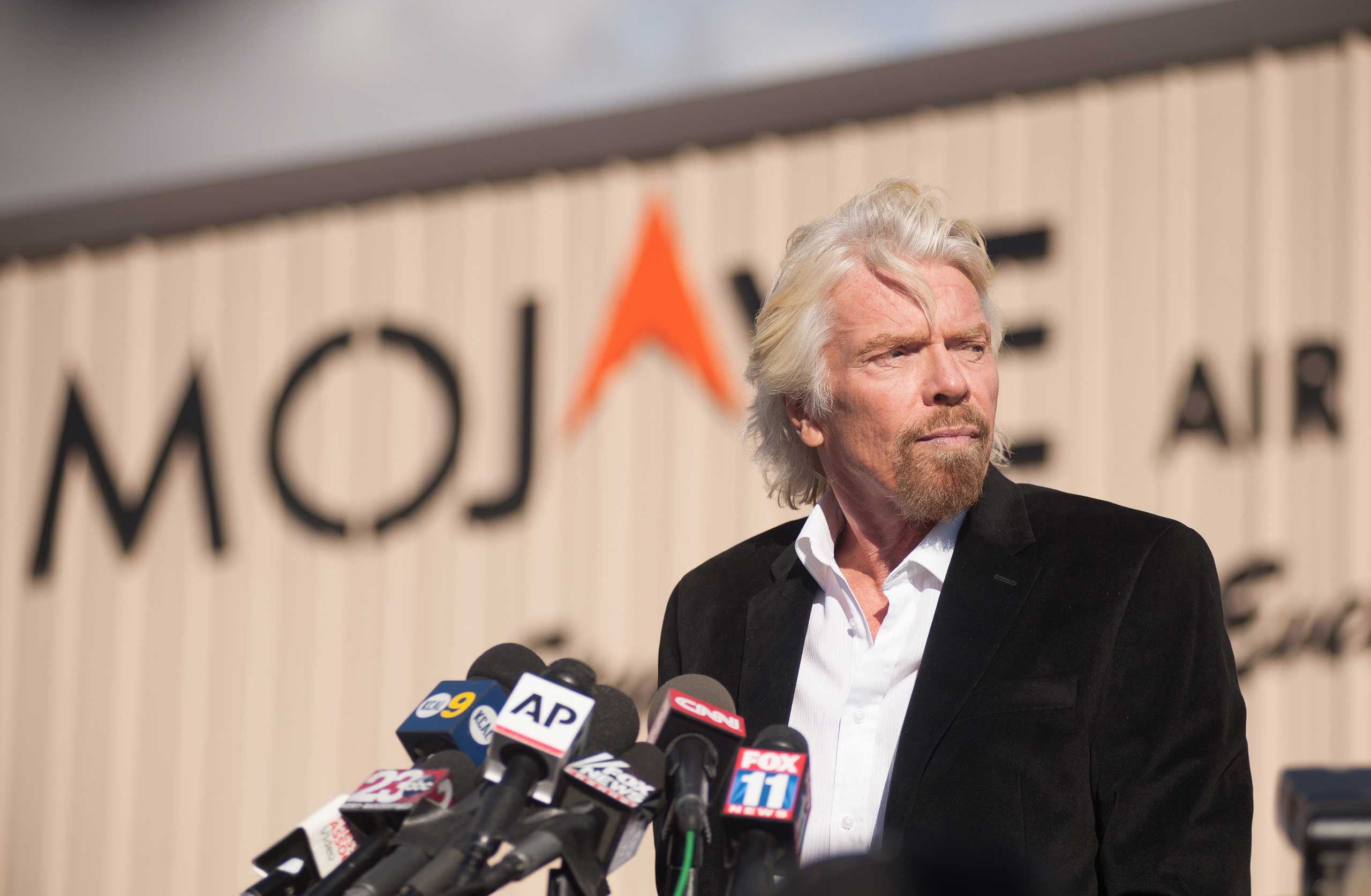 Virgin founder Sir Richard Branson speaks at a press conference after a Virgin Galactic test spacecraft crashed, at the Mojave Air and Space Port in Mojave, Calif. on Nov. 1, 2014.