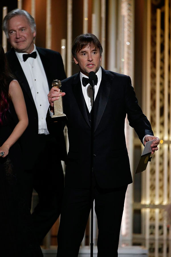 Richard Linklater,  Boyhood , Acceptor, Best Motion Picture, Drama at the 72nd Annual Golden Globe Awards held at the Beverly Hilton Hotel on Jan. 11, 2015.