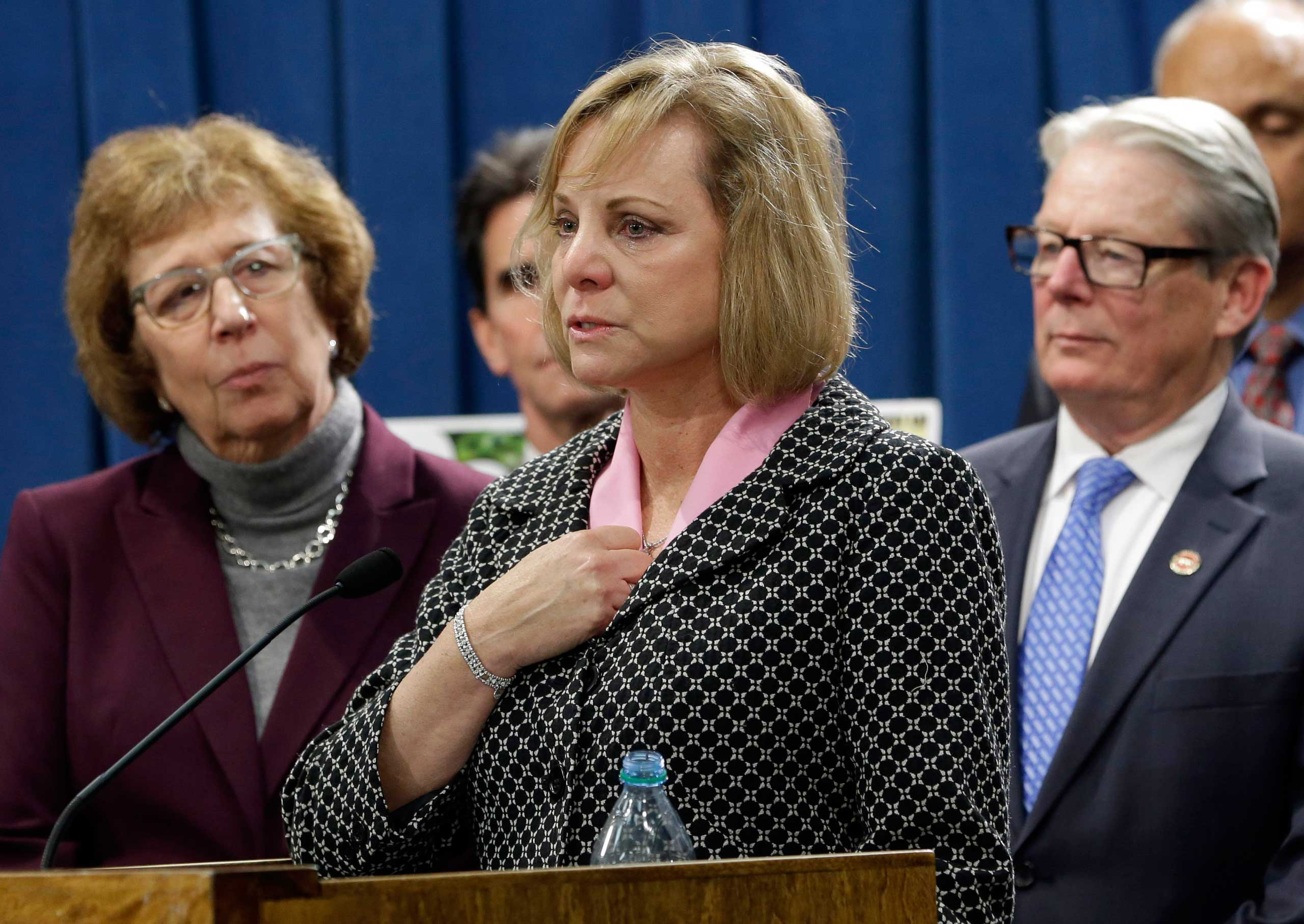Debbie Ziegler, the mother of Brittany Maynard, speaks in support of proposed legislation allowing doctors to prescribe life-ending medication to terminally ill patients during a news conference at the Capitol, Jan. 21, 2015, in Sacramento, Calif.