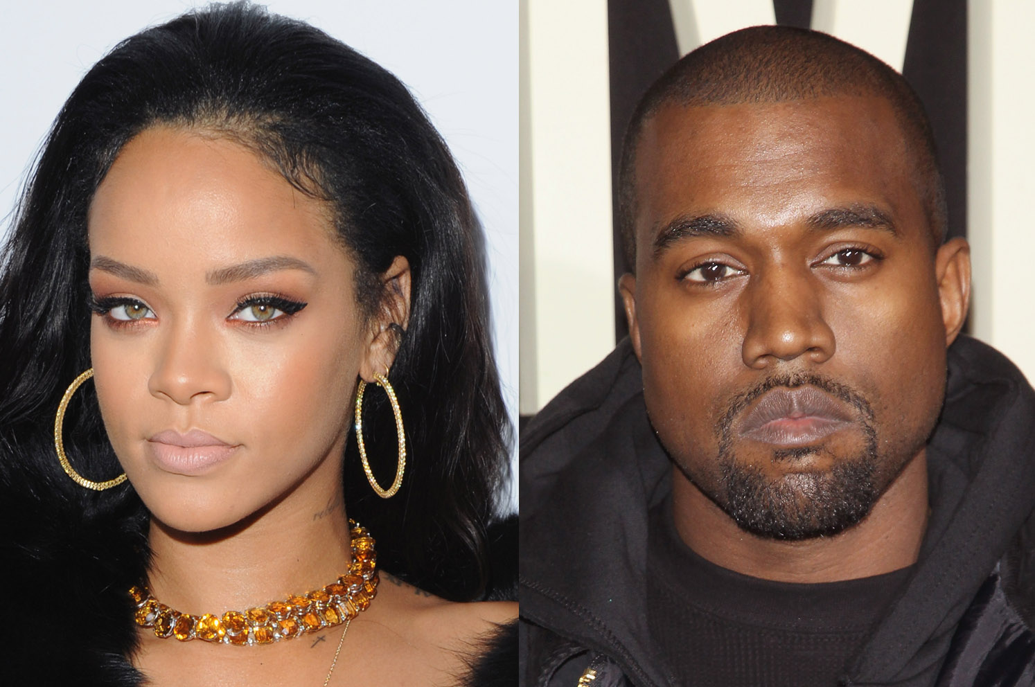 Rihanna (L) and Kanye West (R)