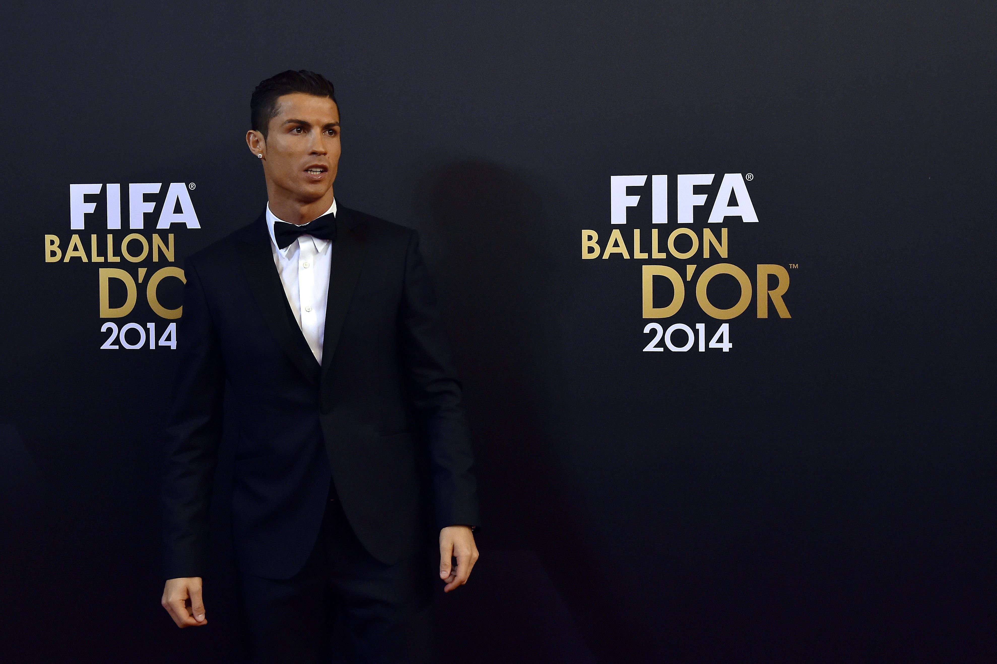 Real Madrid and Portugal forward Cristiano Ronaldo arrives during  the red carpet ceremony ahead of the 2014 FIFA Ballon d'Or award ceremony at the Kongresshaus in Zurich on Jan. 12, 2015