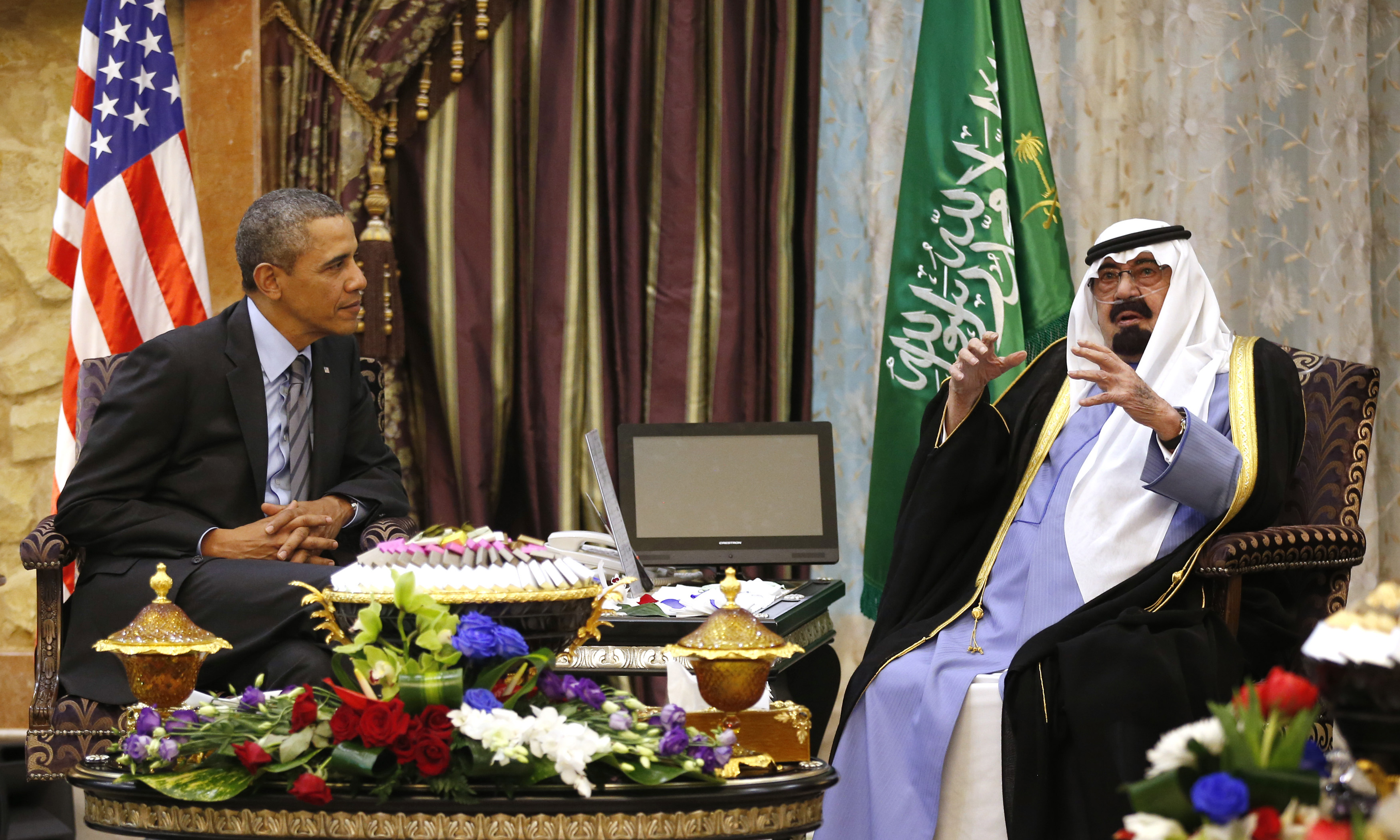 U.S. President Barack Obama meets with King Abdullah at Rawdat al-Khraim (Desert Camp) near Riyadh in Saudi Arabia, March 28, 2014.
