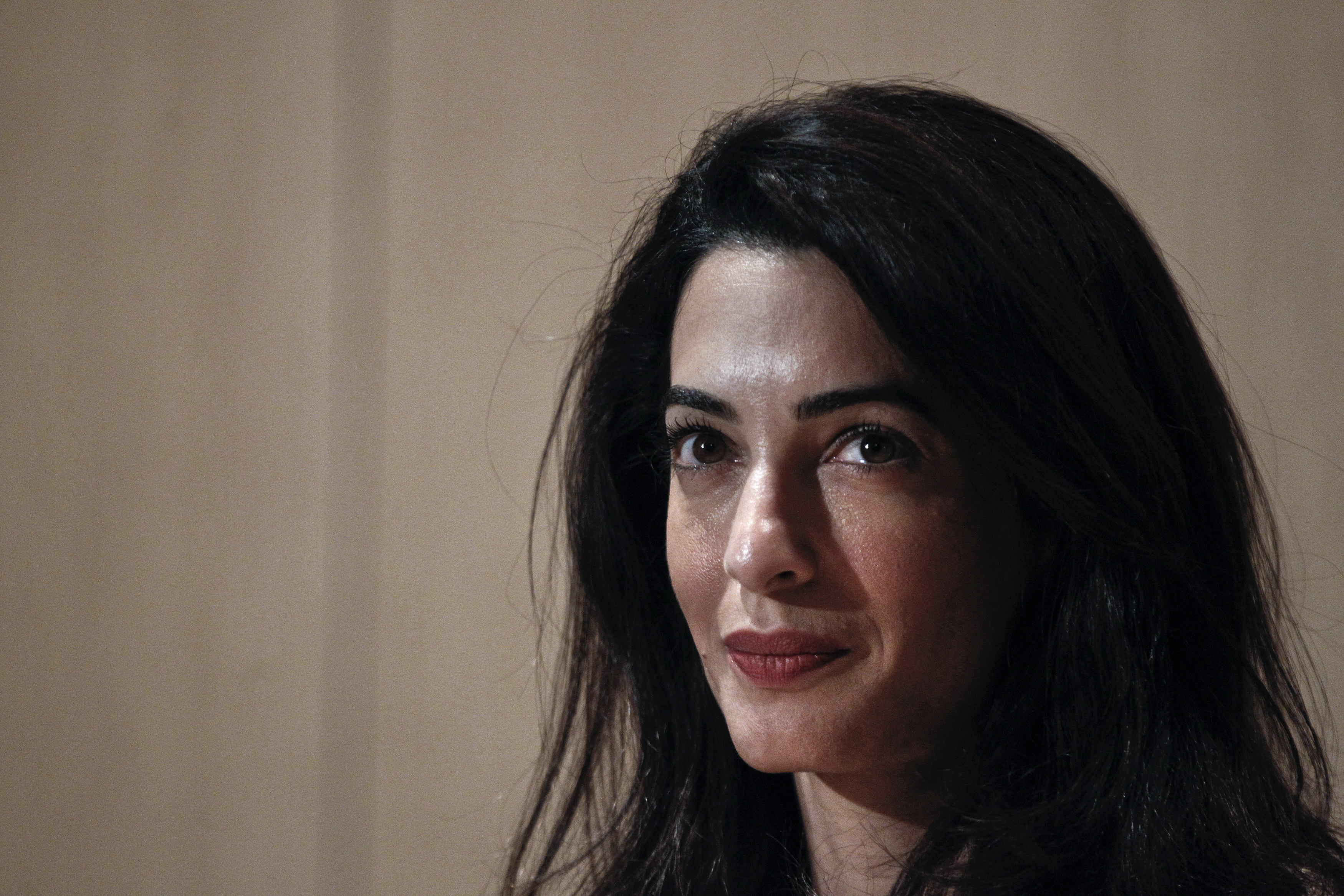 Human-rights lawyer Amal Alamuddin Clooney looks on during a news conference at the Acropolis museum in Athens on Oct. 15, 2014