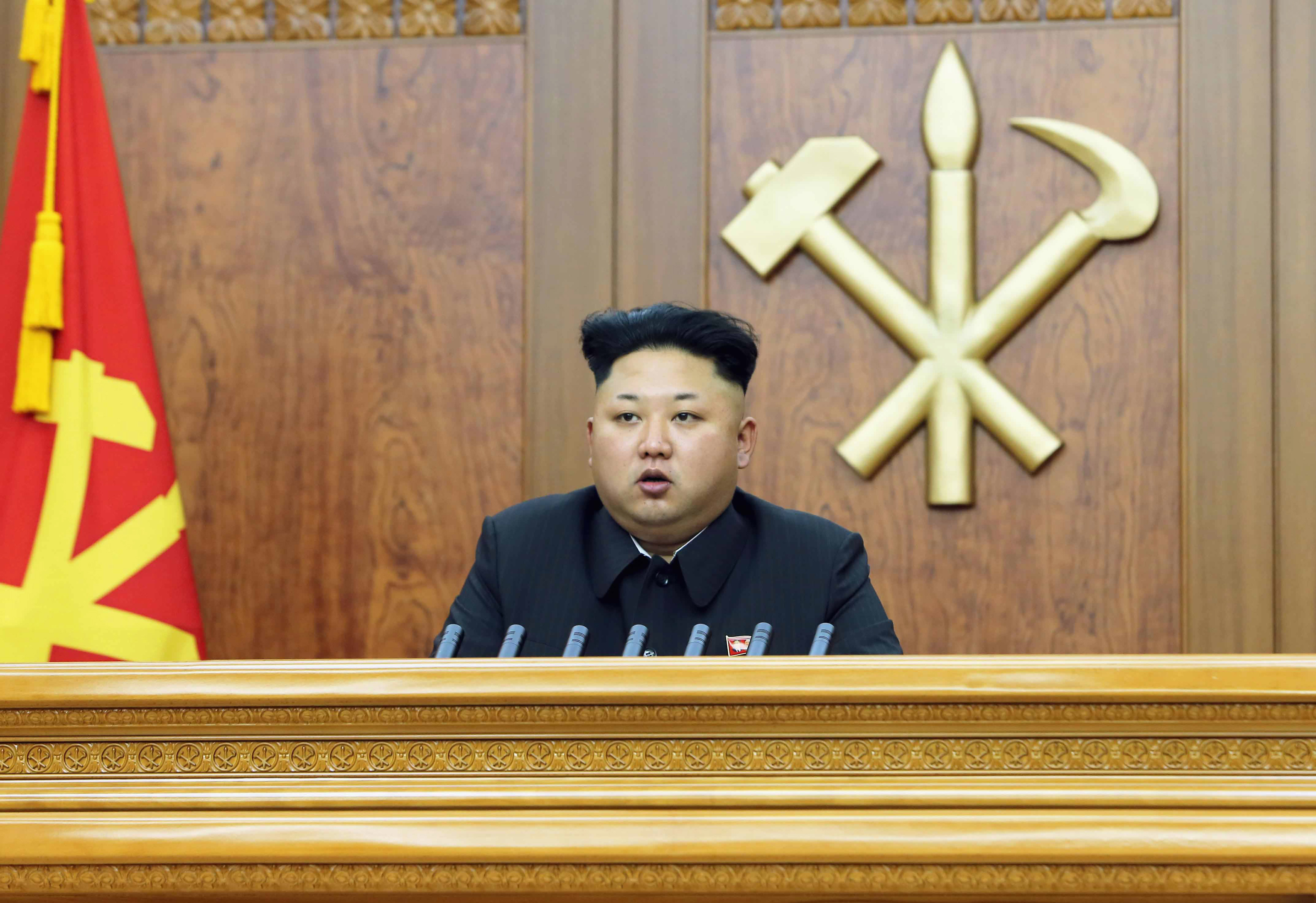 North Korean leader Kim Jong Un delivers a New Year's address in this January 1, 2015 photo released by North Korea's Korean Central News Agency (KCNA) in Pyongyang.