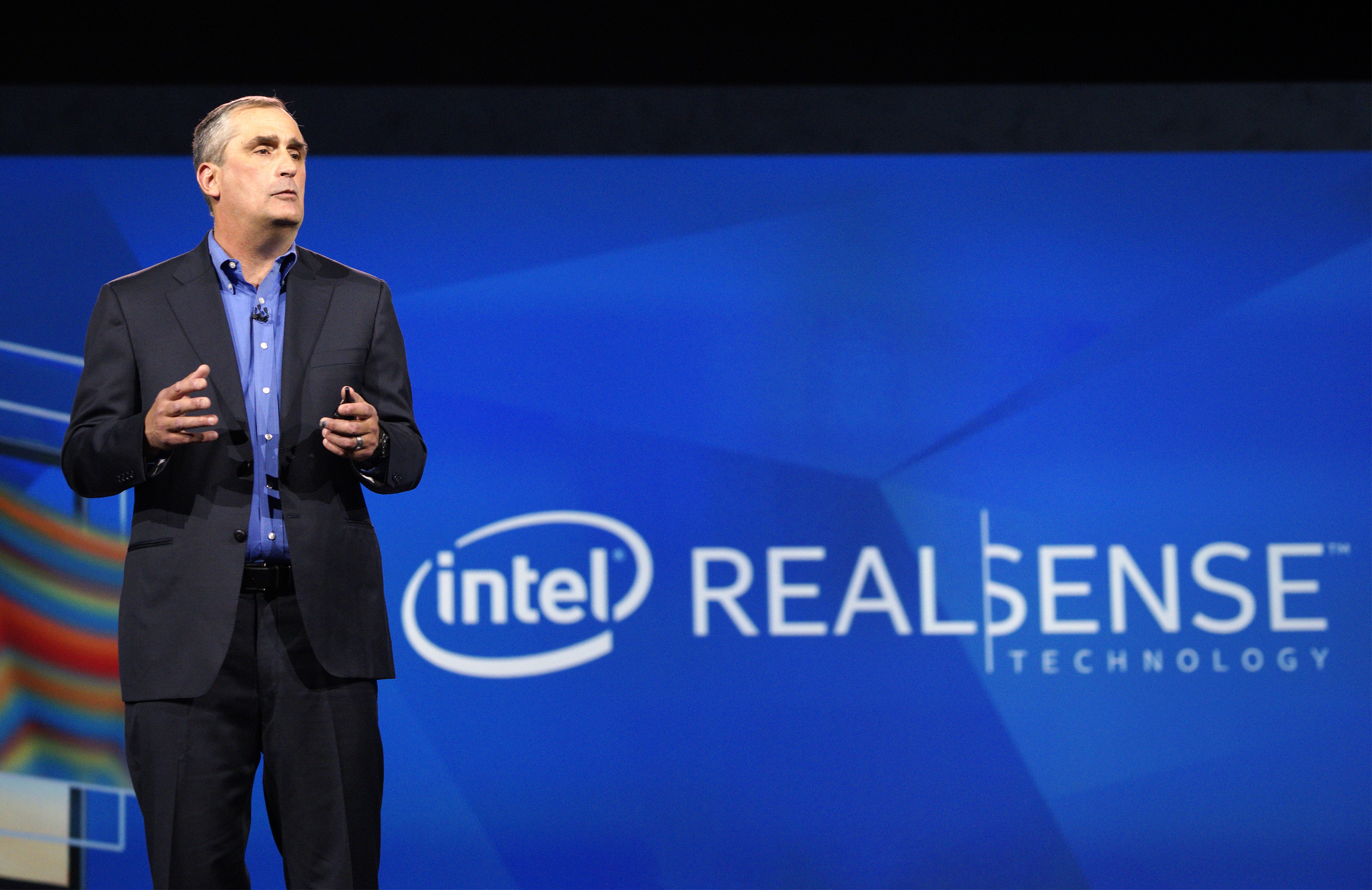 Brian Krzanich, CEO of Intel, talks about the company's RealSense camera technology at his keynote at the International Consumer Electronics show (CES) in Las Vegas, Nevada January 6, 2015.