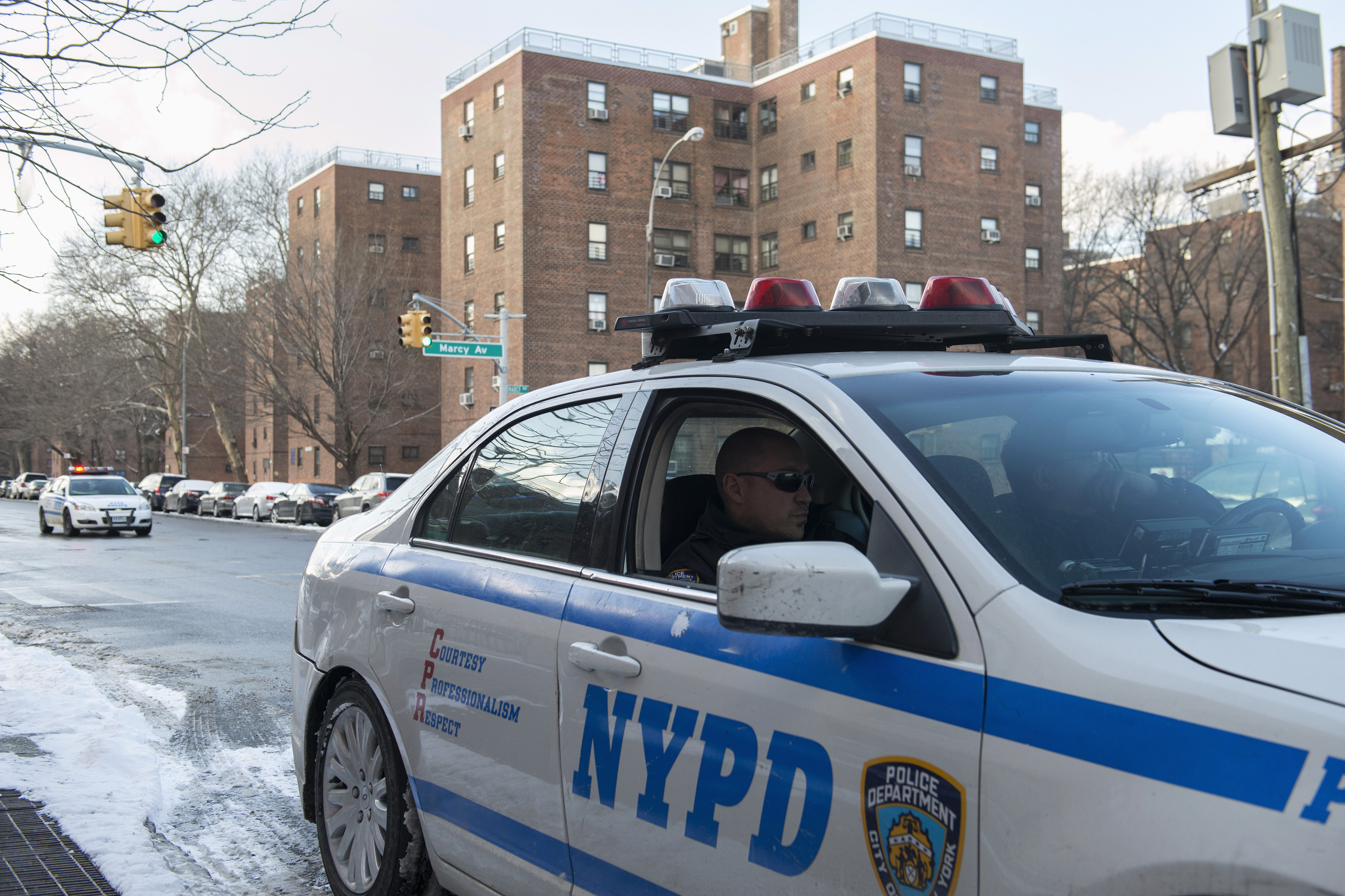 A New York Police Department patrol vehicle is seen near the Marcy Houses public housing development in the Brooklyn borough of New York January 9, 2015.