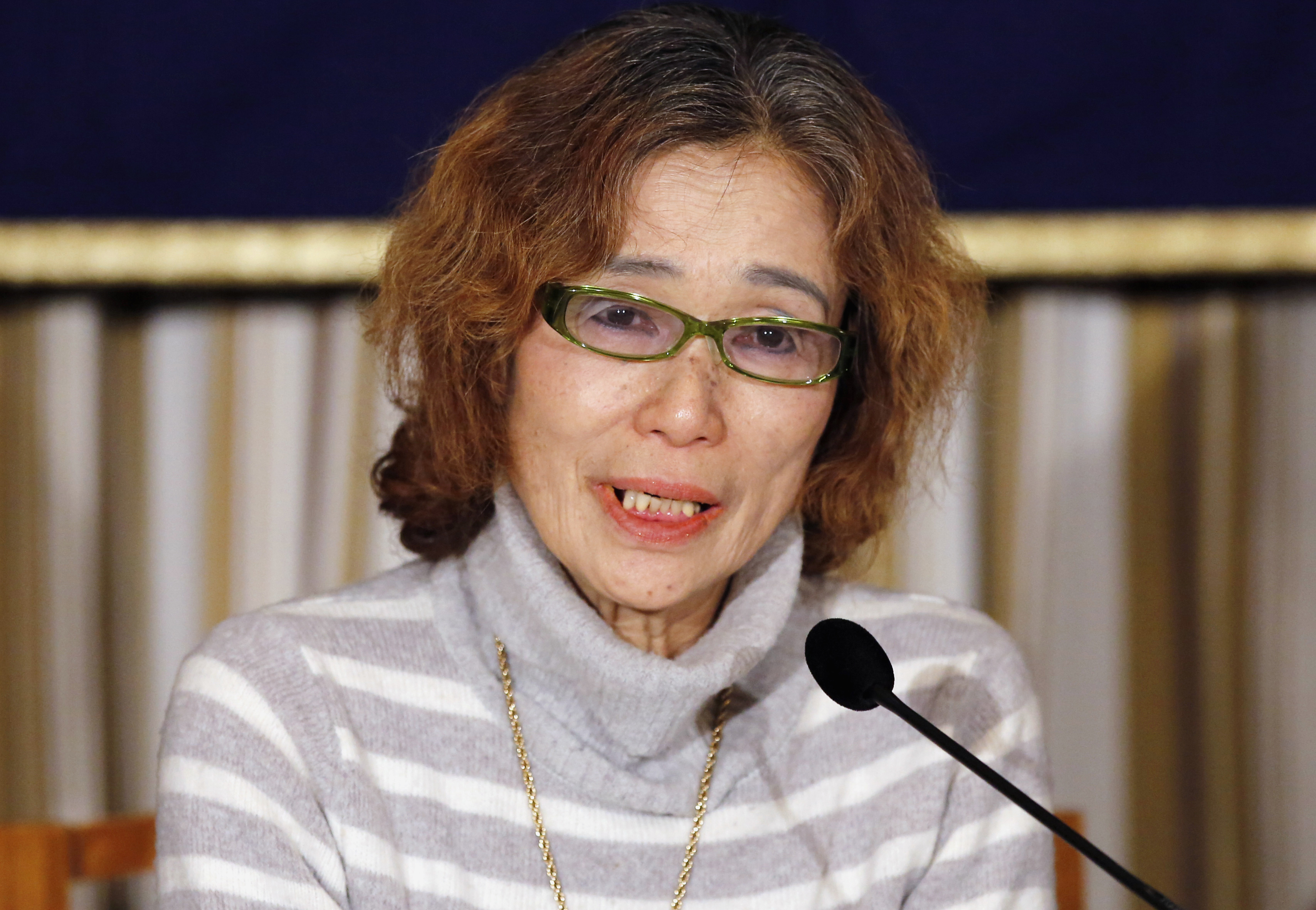 Junko Ishido, mother of Kenji Goto, a Japanese journalist being held captive by Islamic State militants along with another Japanese citizen, speaks during a news conference at the Foreign Correspondents' Club of Japan in Tokyo on Jan. 23, 2015
