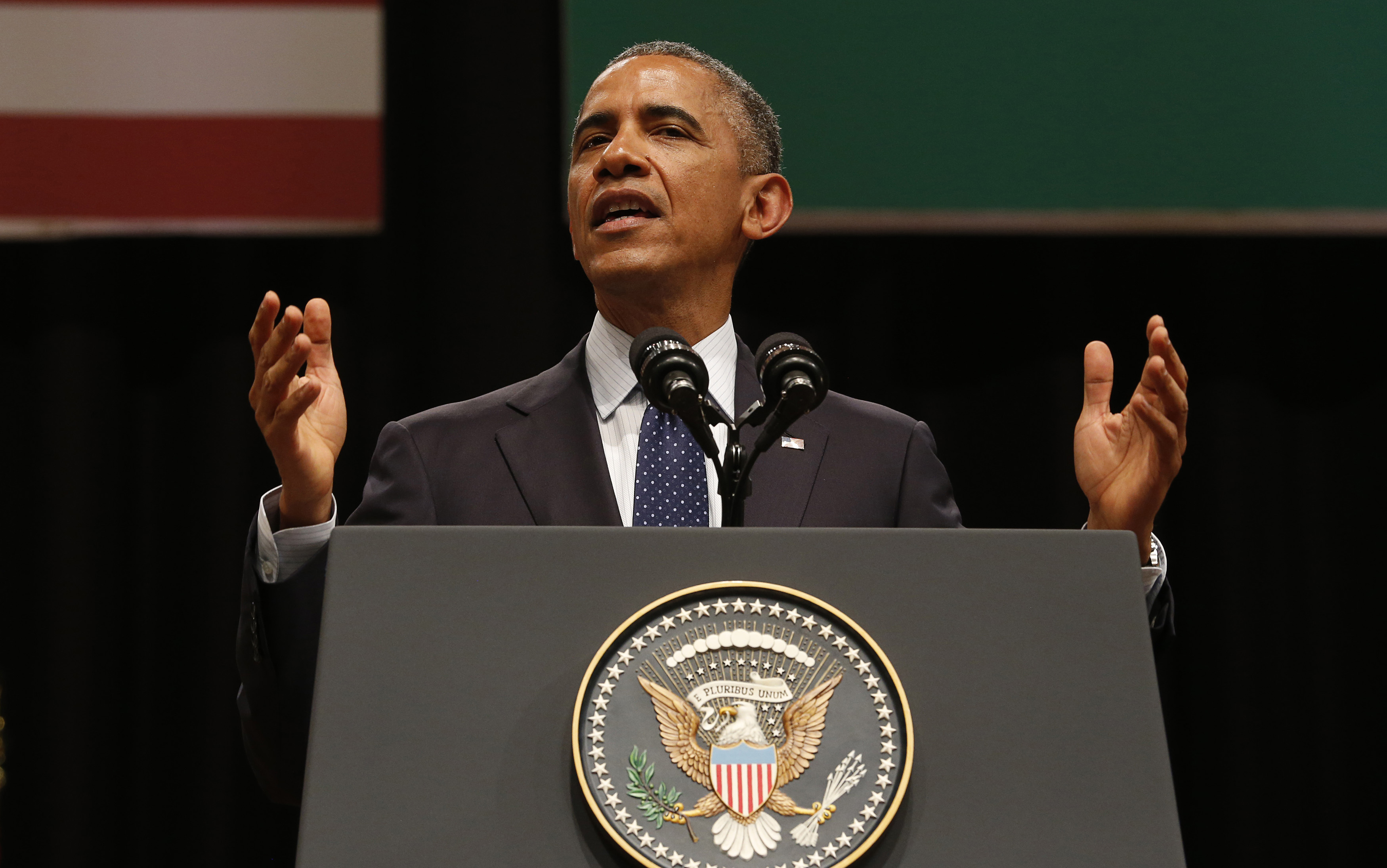 U.S. President Barack Obama delivers a speech at Siri Fort Auditorium in New Delhi on Jan. 27, 2015