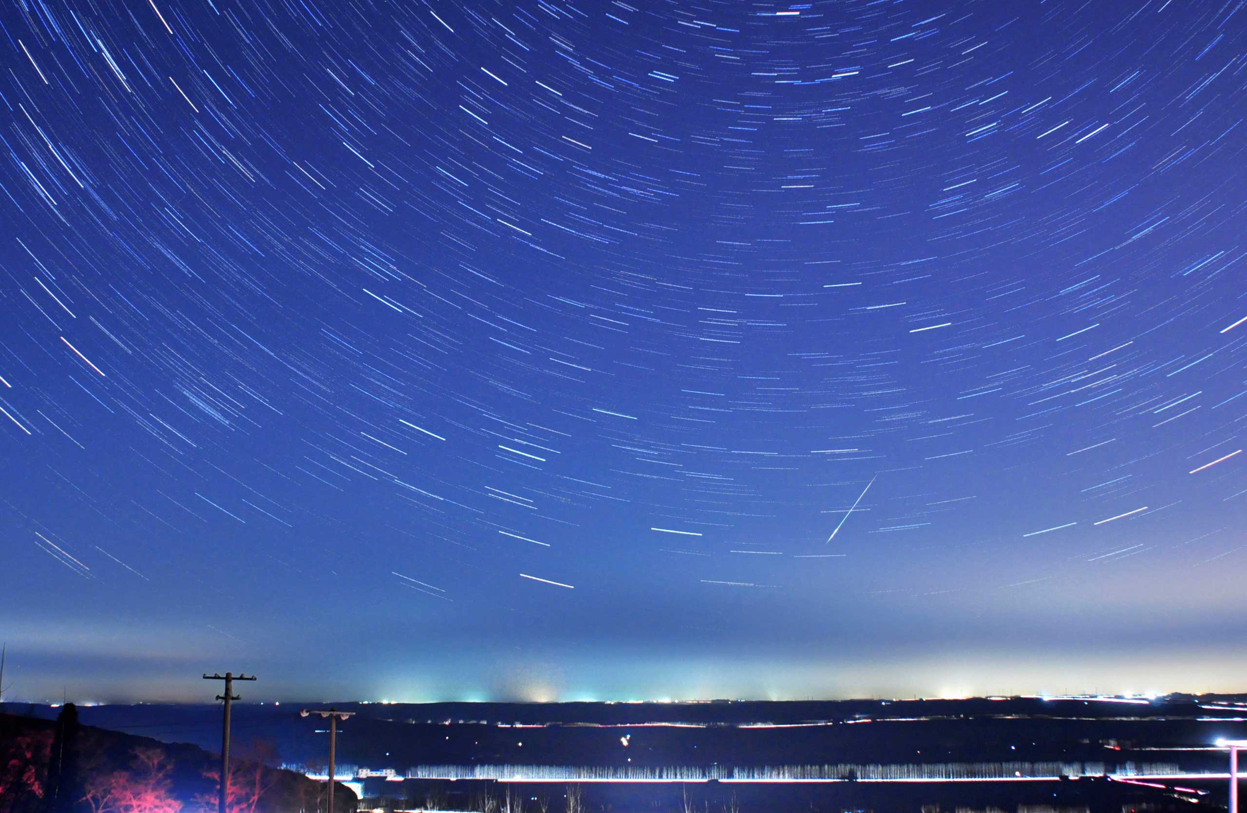 A long exposure shows the 2014 Quadrantid meteor shower, as seen in Qingdao, Shandong province, China, Jan. 4, 2014.